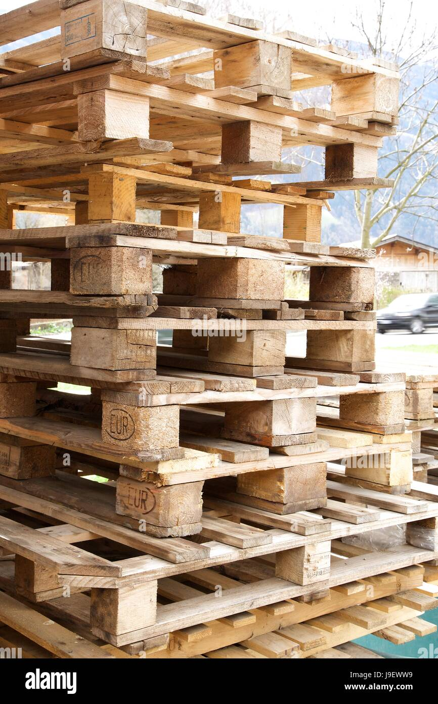 The classic wooden European pallets.With European standard marker - Stock Image