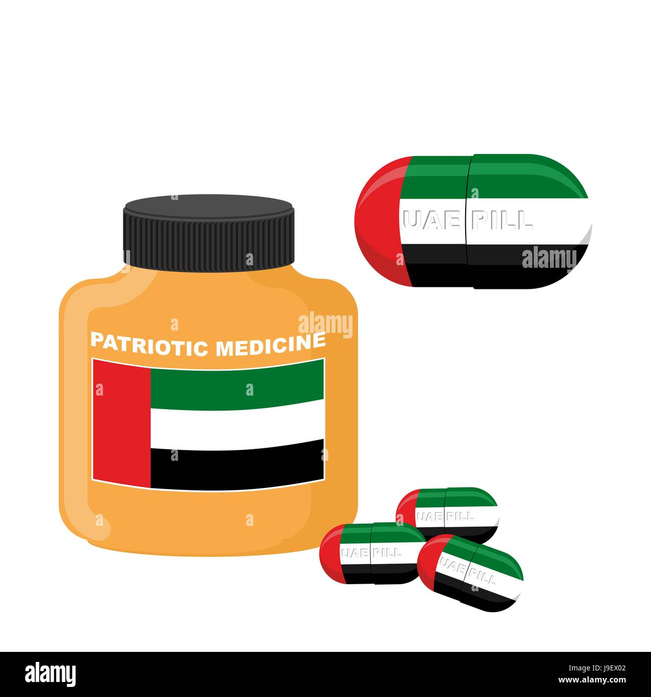 National Patriotic medicine UAE. Pill with the flag of the United Arab Emirates. Vector illustration. Bottle with - Stock Image