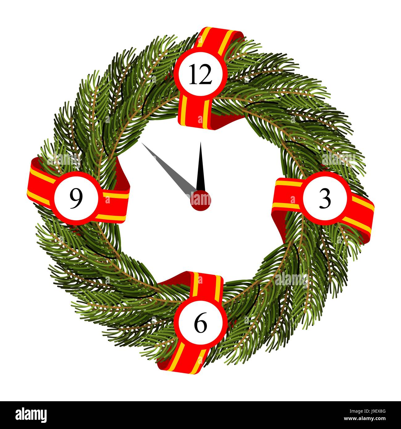 Christmas Round Frame Of Branches Of Christmas Tree Dial On Wreath