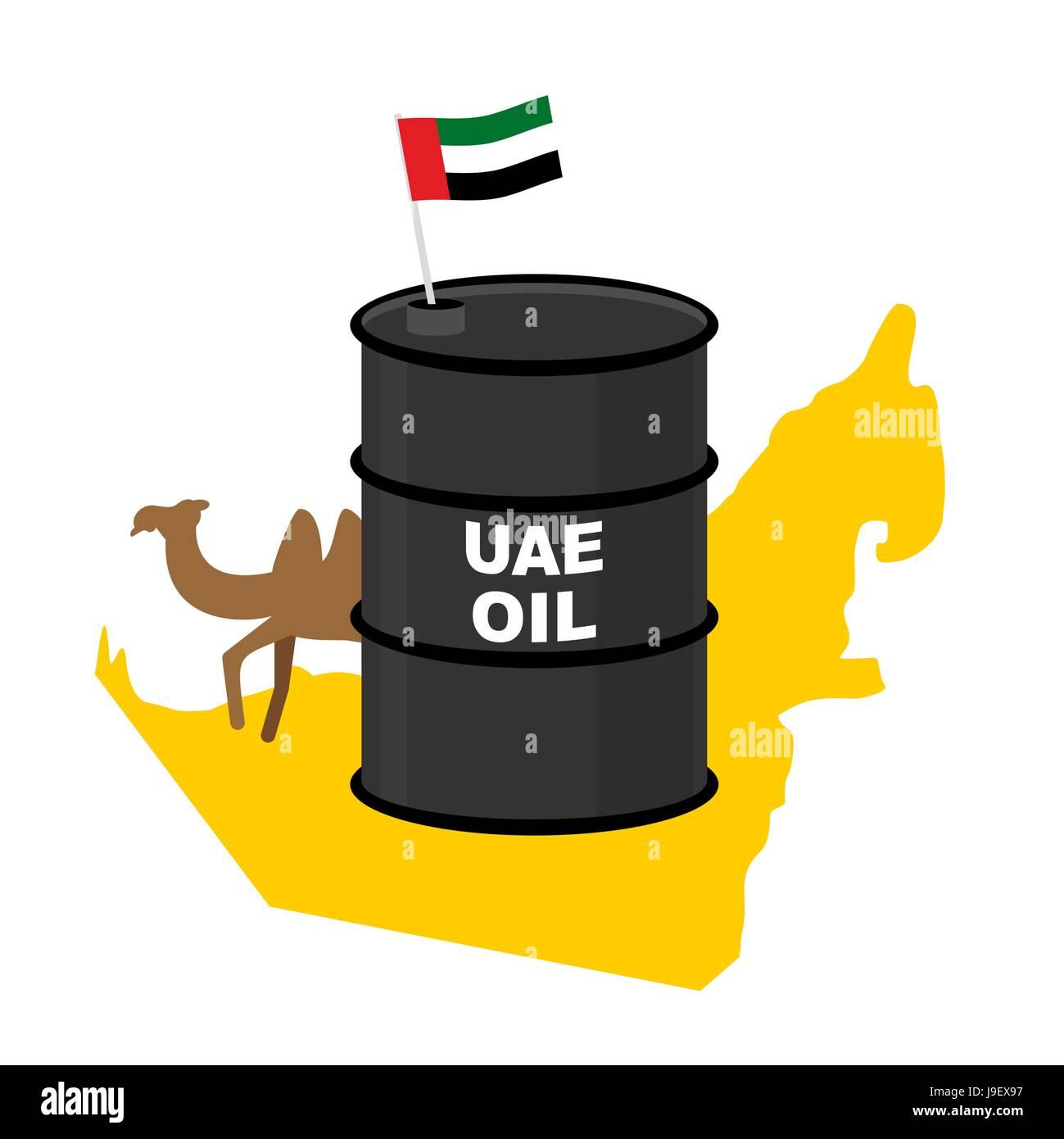 Barrel oil UAE  map background. Flag United Arab Emirates. Camel peeks out from behind barrels. Vector illustration - Stock Image