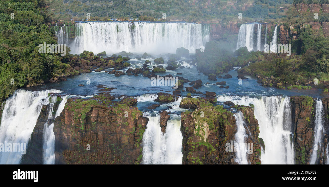 View of the Iguazu Falls from the Brazilian side, Unesco World Heritage Site, Foz do Iguacu, Parana State, Brazil - Stock Image