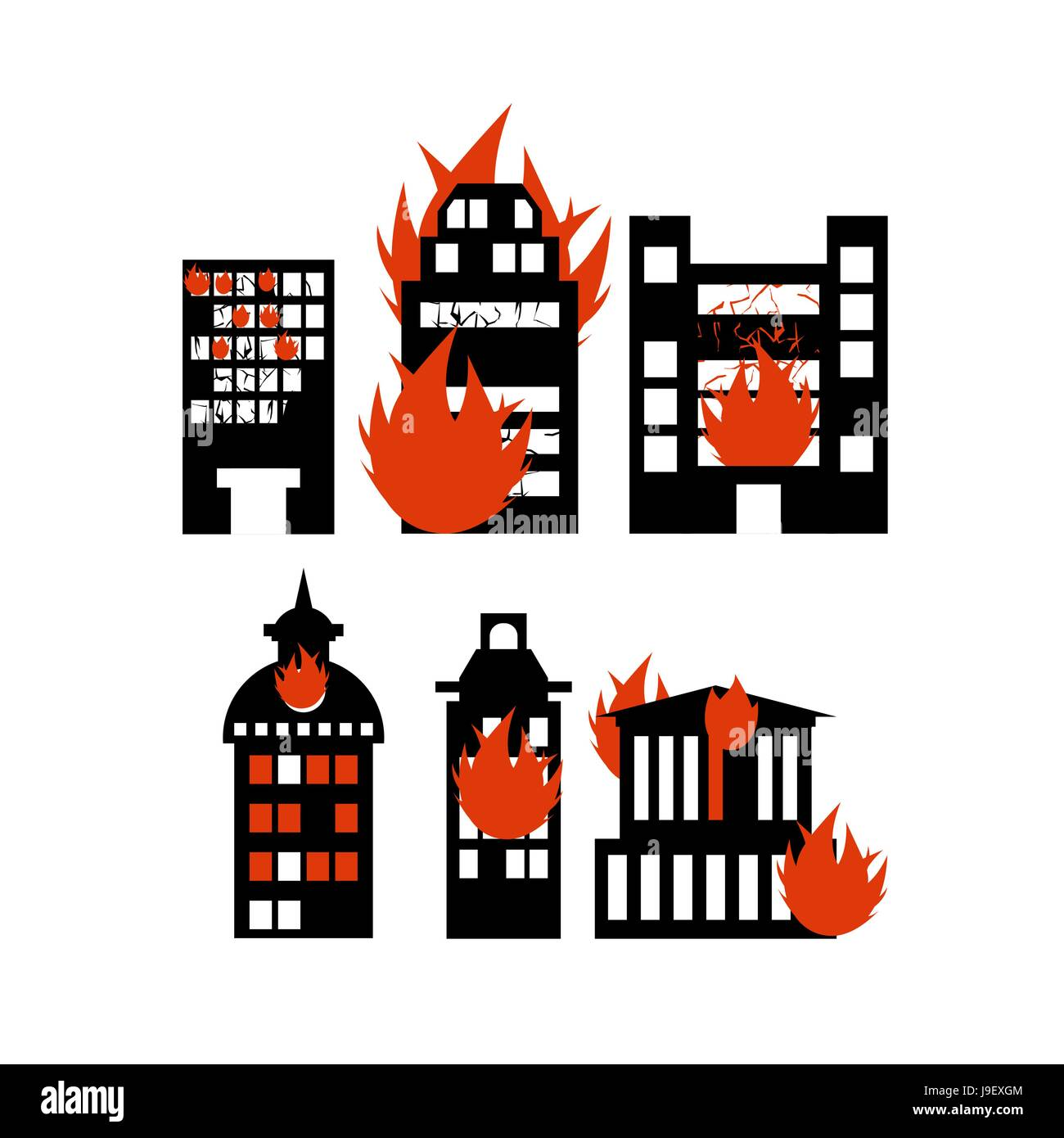 Fire  building. Set of icons lit city buildings. Emergency incident. Destruction of municipal and public houses. - Stock Vector