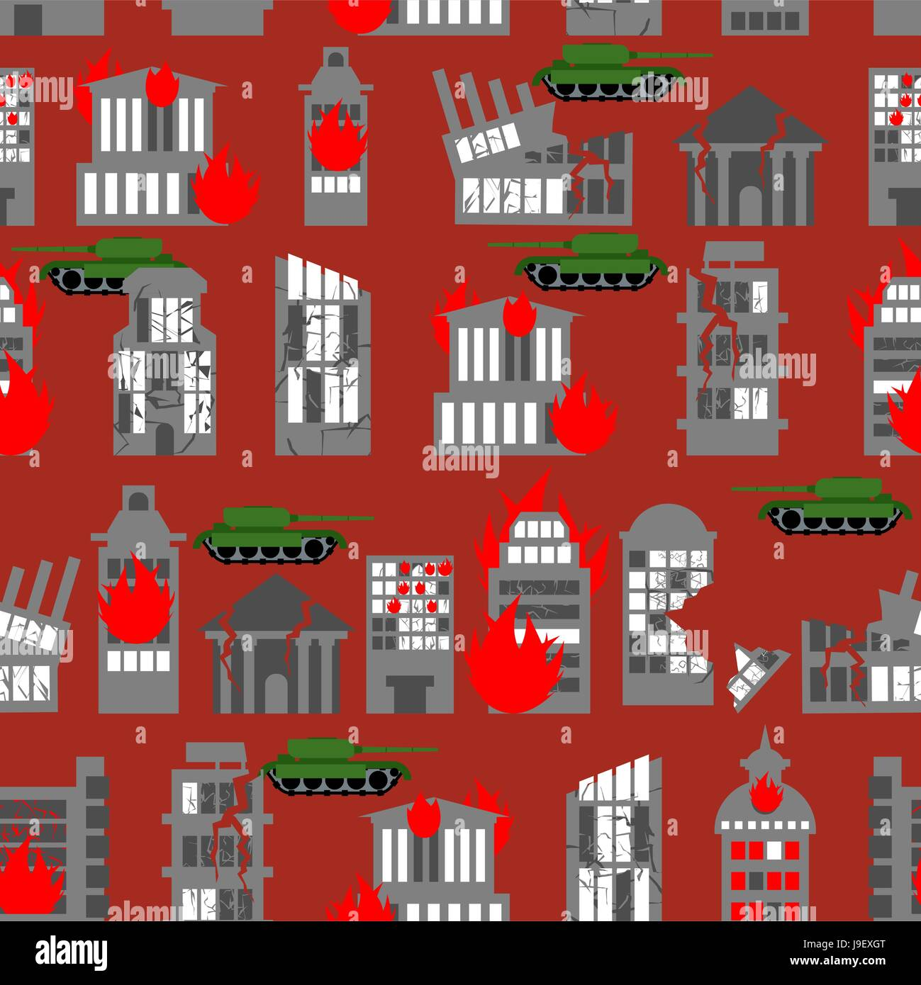 War seamless pattern. Ruined city. Tanks in town. Skyscrapers and public buildings destroyed. Background to danger. - Stock Vector