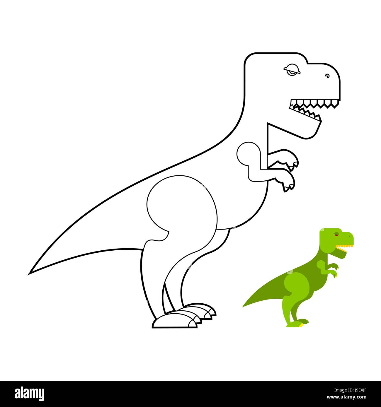 T Rex Dinosaur Coloring Book Scary Big Tyrannosaurus Prehistoric
