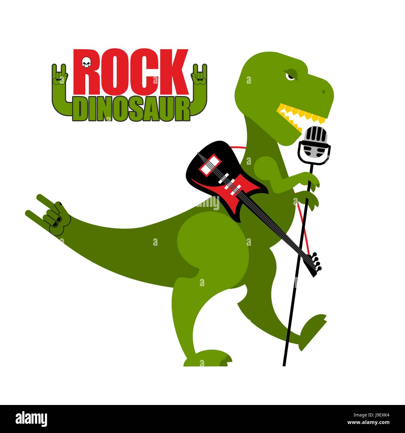 Rock dinosaur. Tyrannosaurus is singing into microphone. Dino T-Rex with an electric guitar. Green toothy Monster - Stock Vector