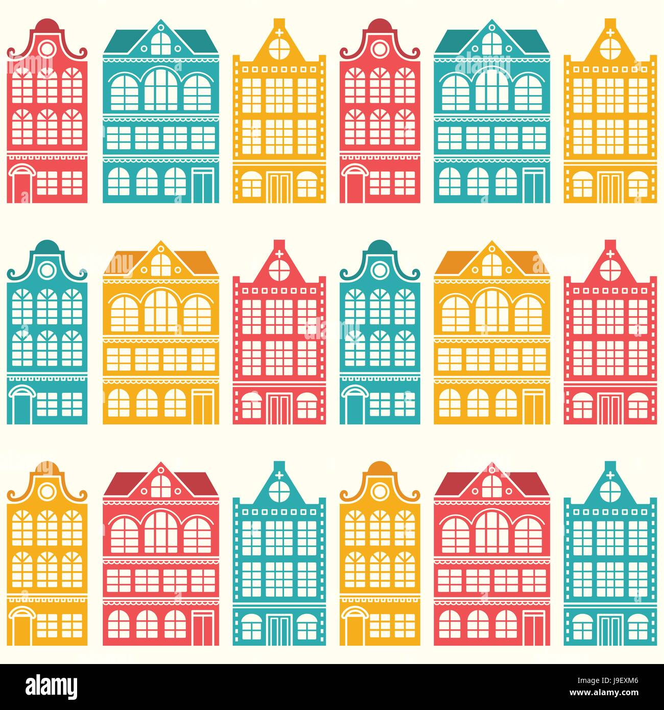 Seamless house pattern - Dutch, Amsterdam houses, mid-century modern style - Stock Image