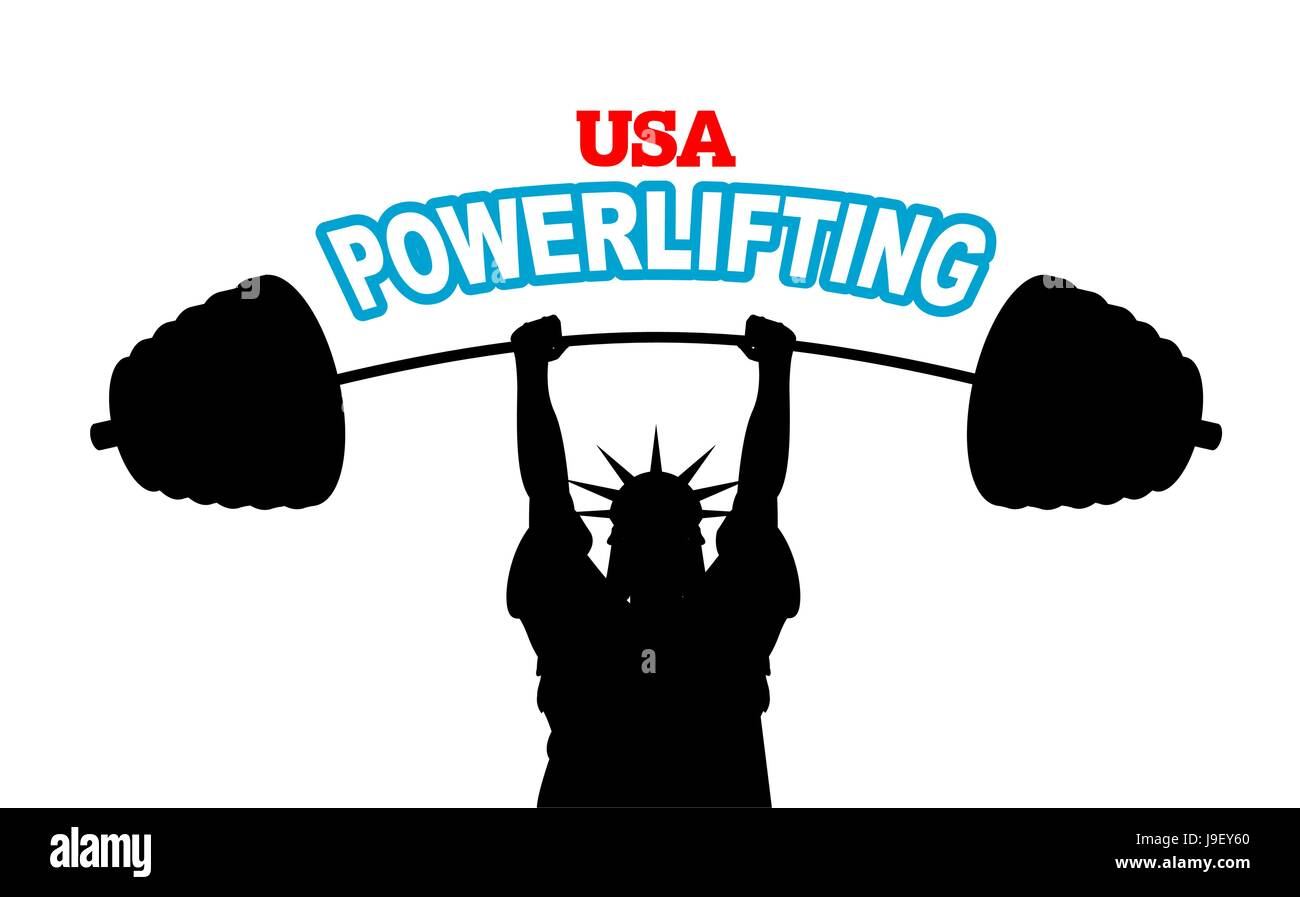 USA powerlifting emblem  strong Statue of Liberty barbell