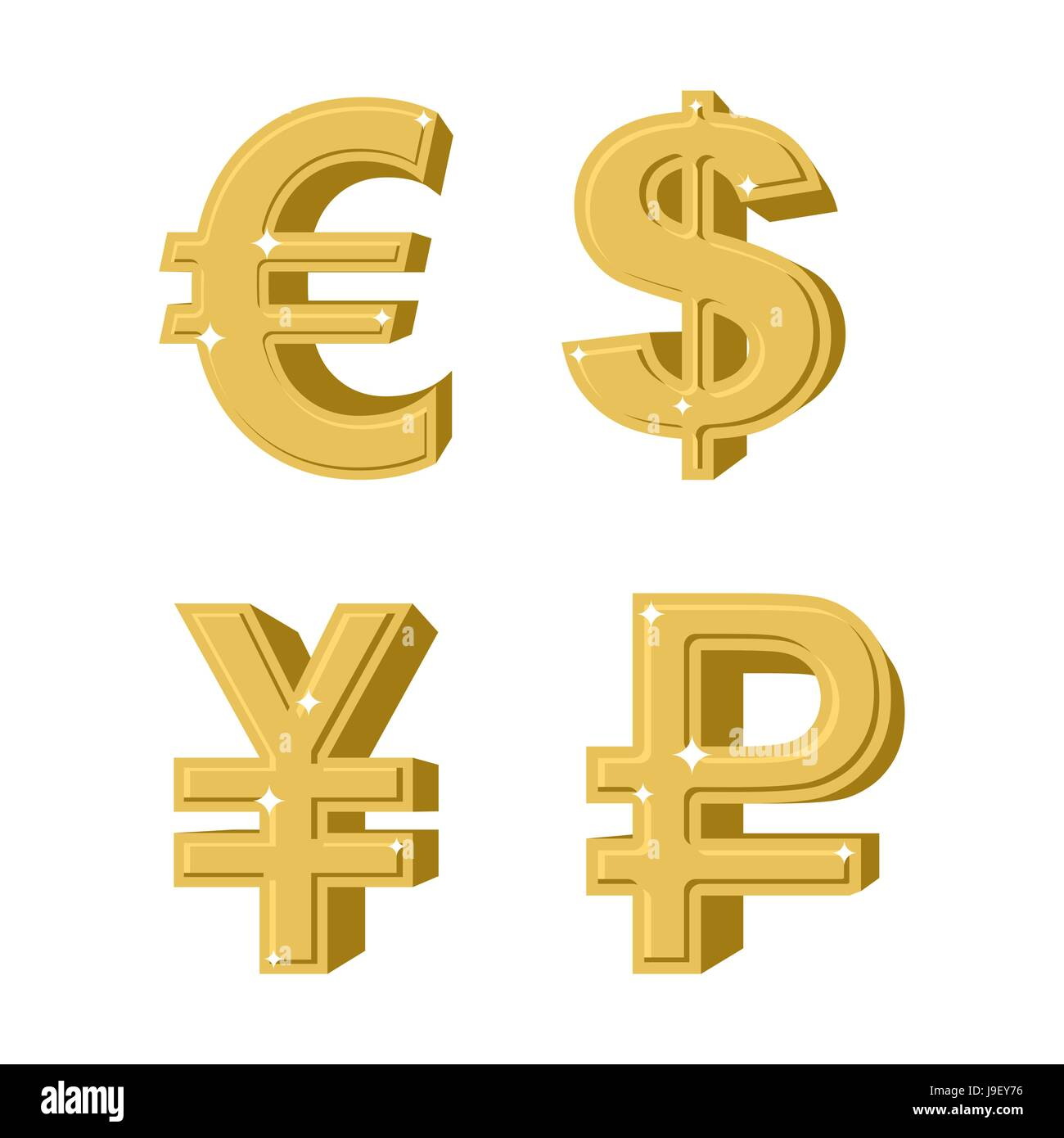 set of golden symbols money russian ruble euro european cash chinese currency is yen symbol of american dollar precious yellow metal