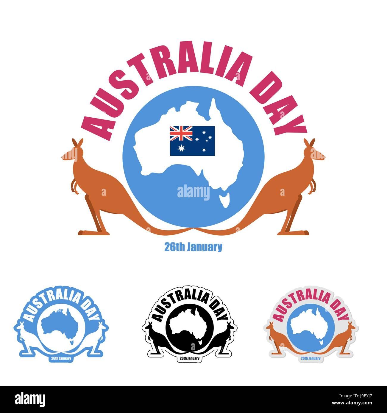 Map Of Australia Logo.Australia Day Logo For Holiday Kangaroo And Map Of Australia