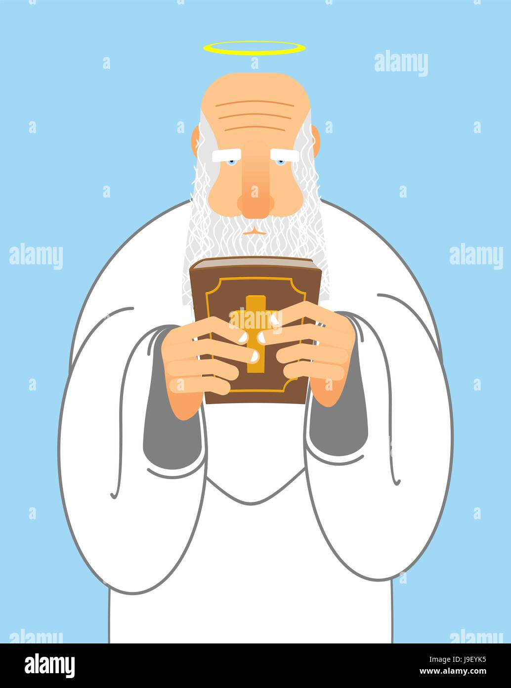 God and Bible  Old man with beard holds Holy Bible  New