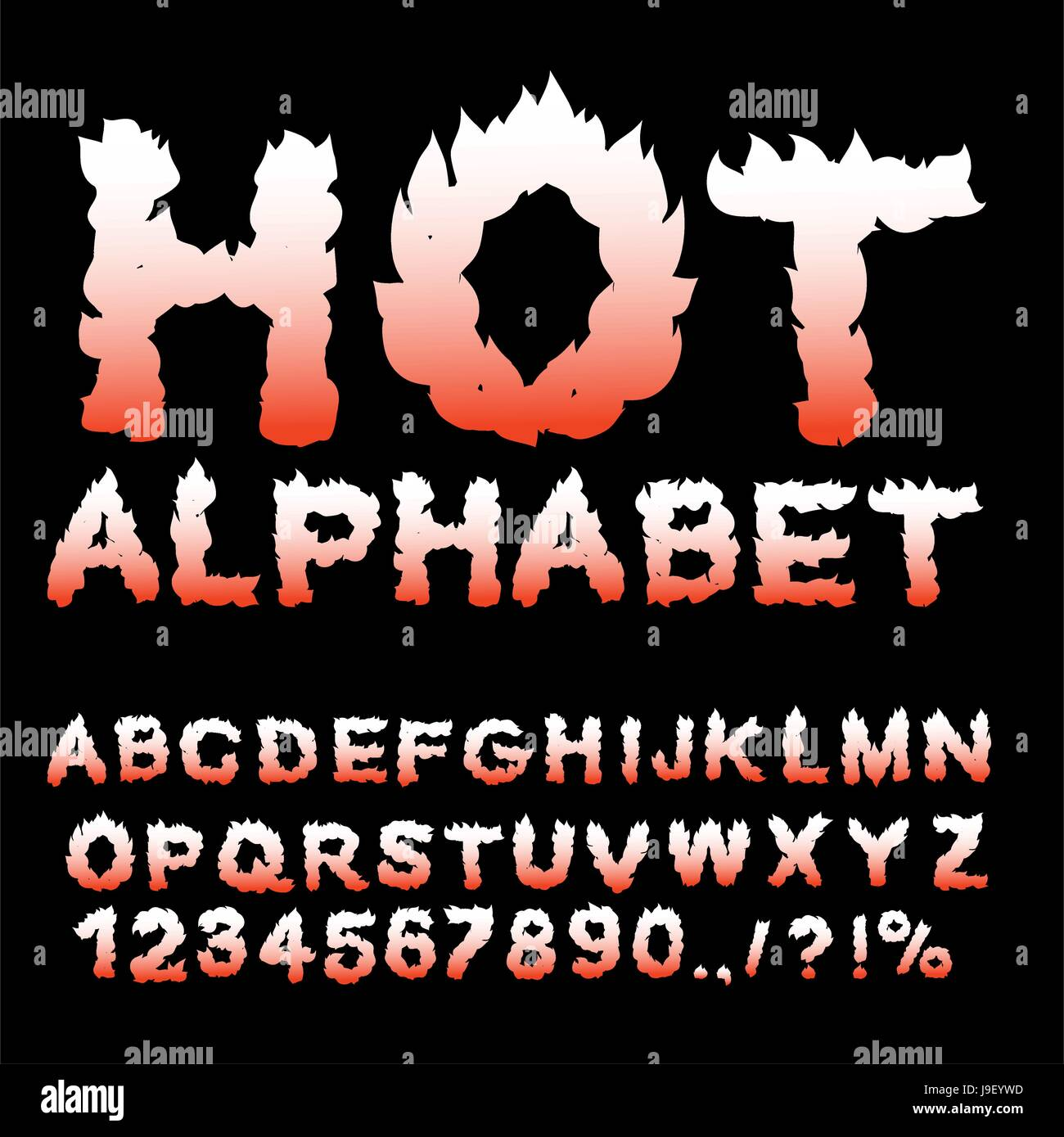 Hot Alphabet Flame Font Fiery Letters Burning ABC Fire Typography Blaze Lettring