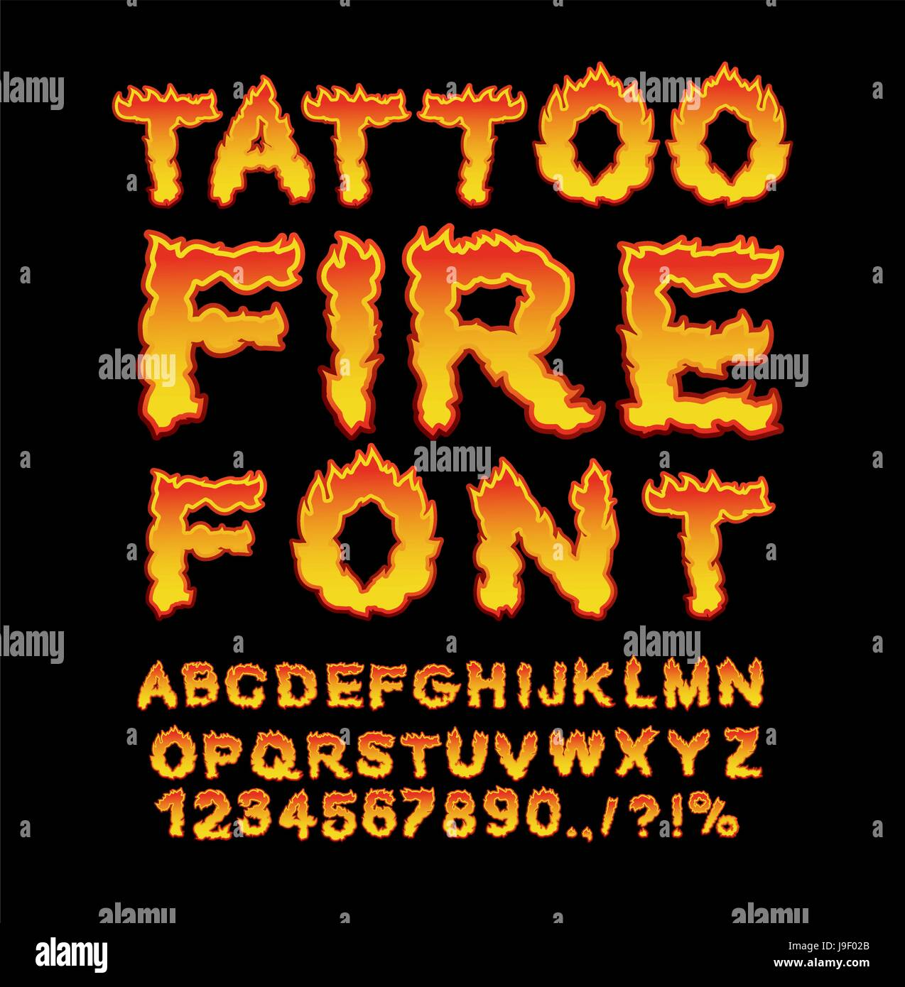 Tattoo Fire font  Flame Alphabet  Fiery letters  Burning ABC