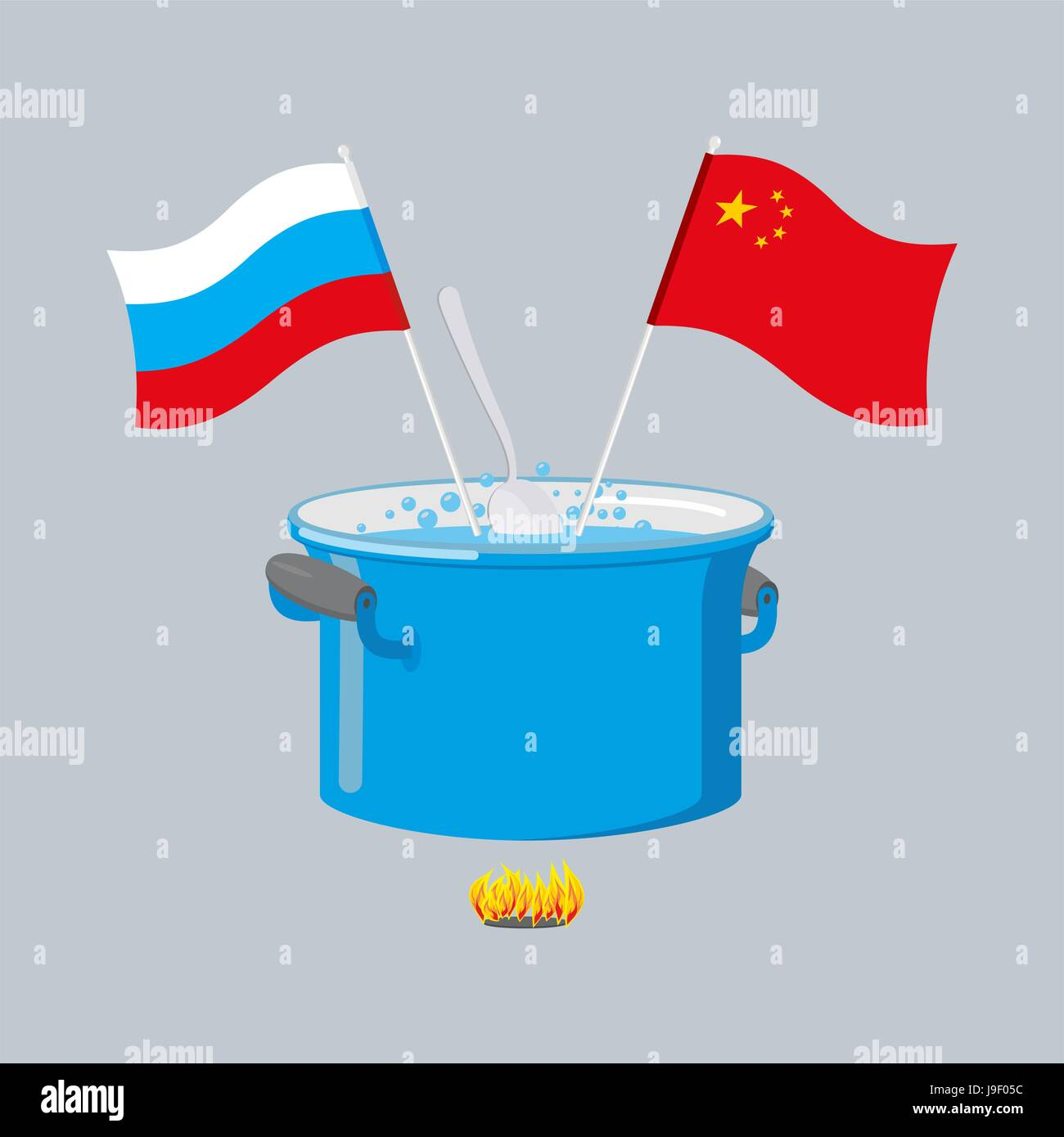 Political kitchen. Russia and China community. Cook soup in one pot ...