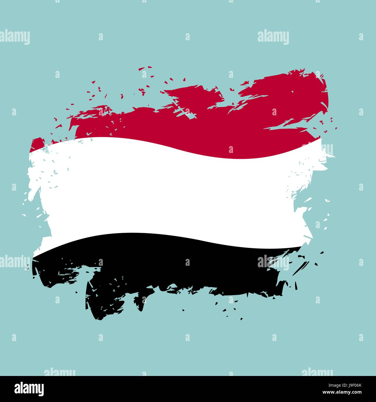 Yemen flag grunge style on blue background. Brush strokes and ink splatter. National symbol of Yemeni government Stock Vector