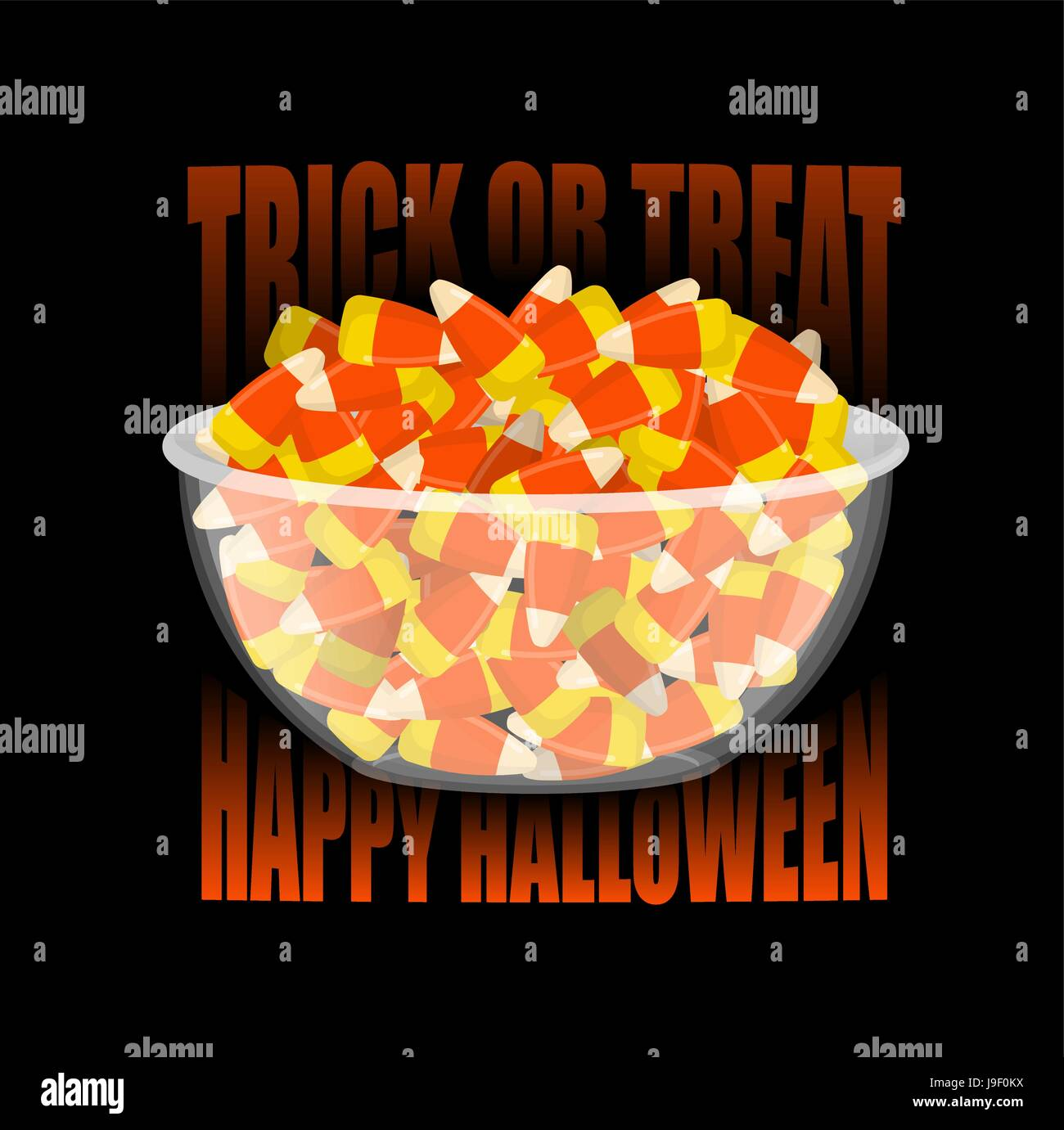 d971b893d20 Happy Halloween. bowl and candy corn. Sweets on plate. Traditional treat  for terrible holiday.