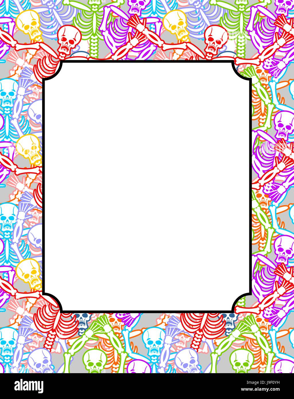 Frame For Day Of The Dead Multicolored Skeletons Color Skull Stock