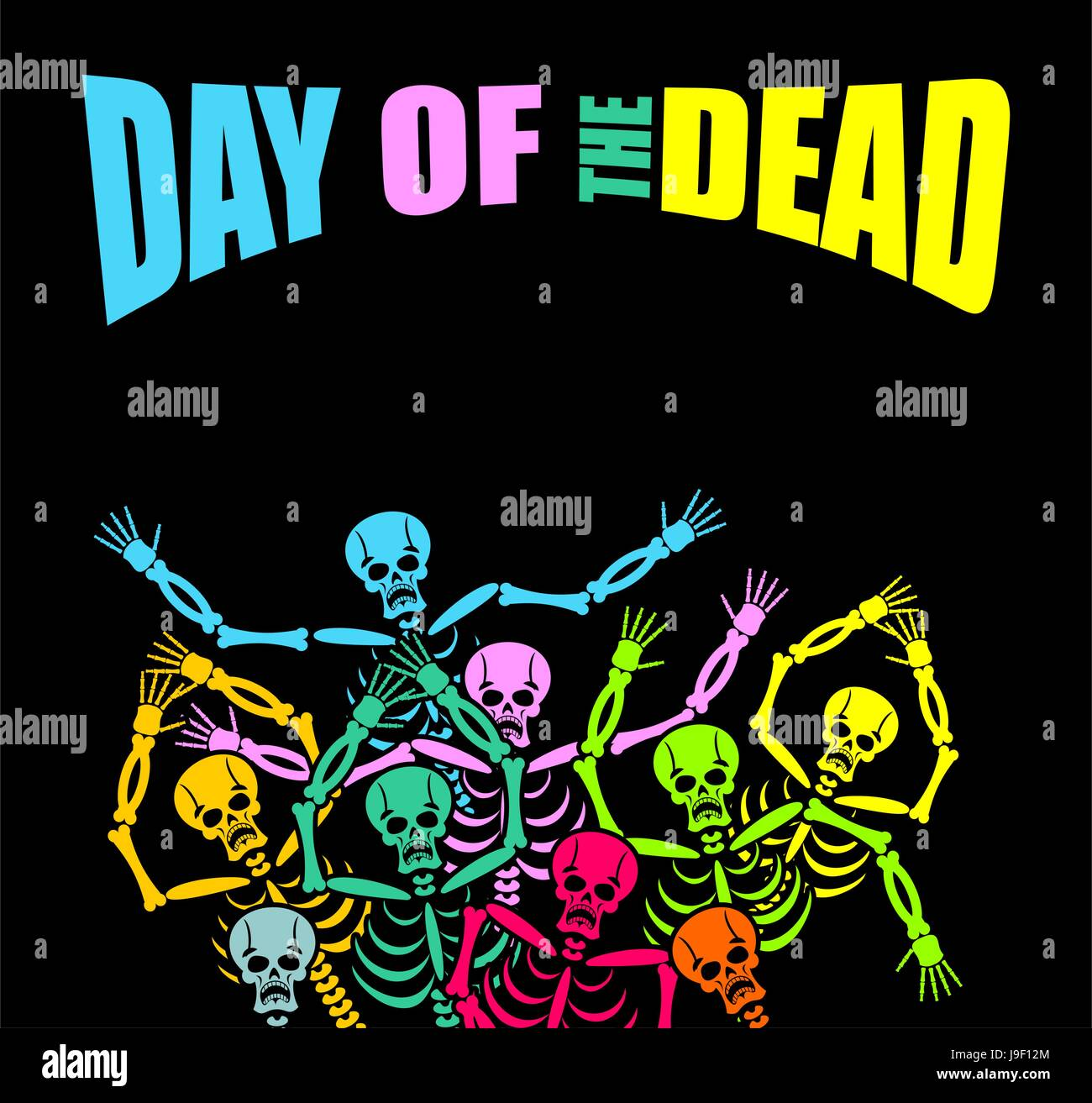 Day Of The Dead Multicolored Skeleton Color Skull Background For National Holiday In Mexico Mexican Terrible Feast
