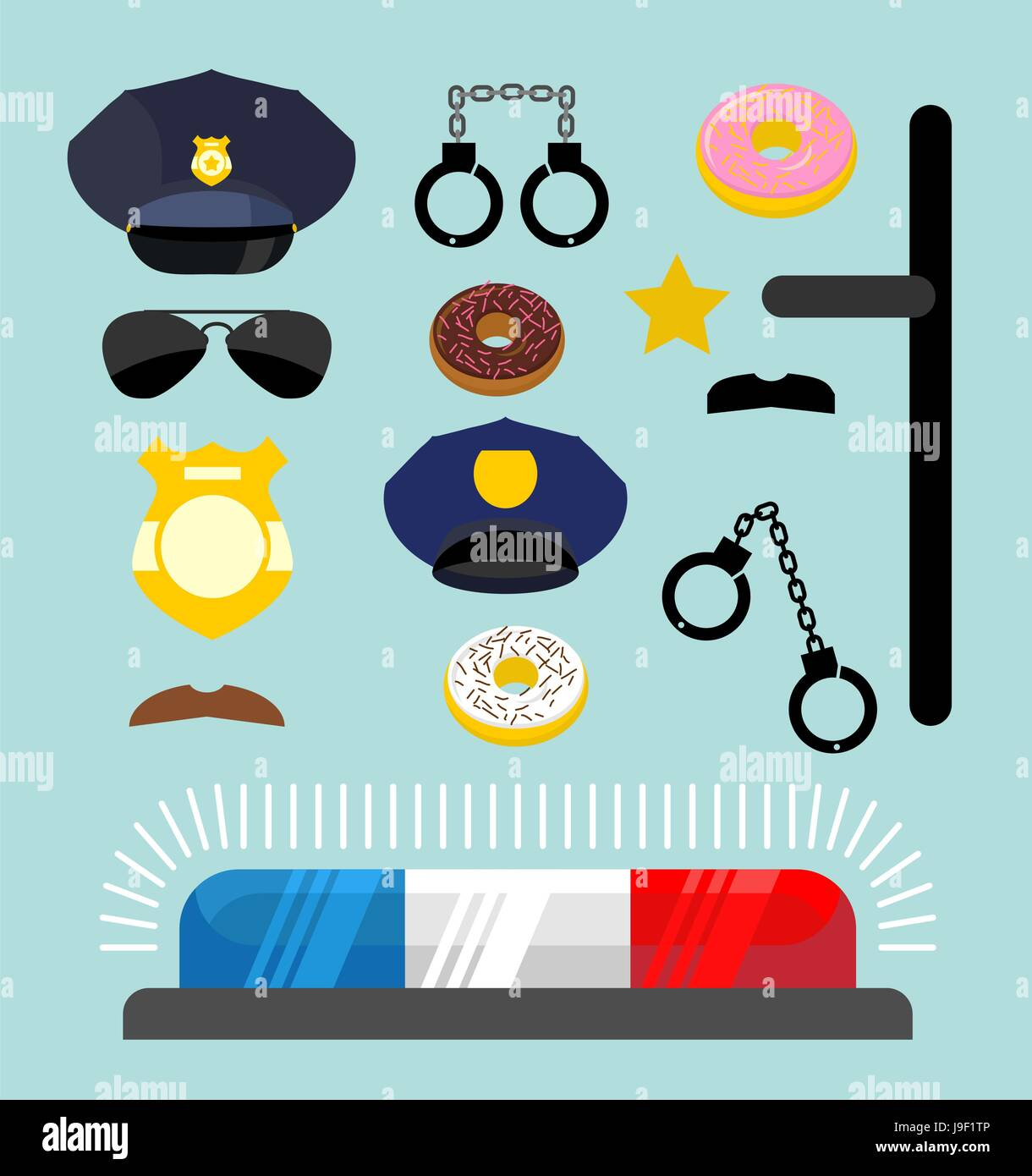 Police Icons Set Symbols Policeman Cop Accessories In Flat Style