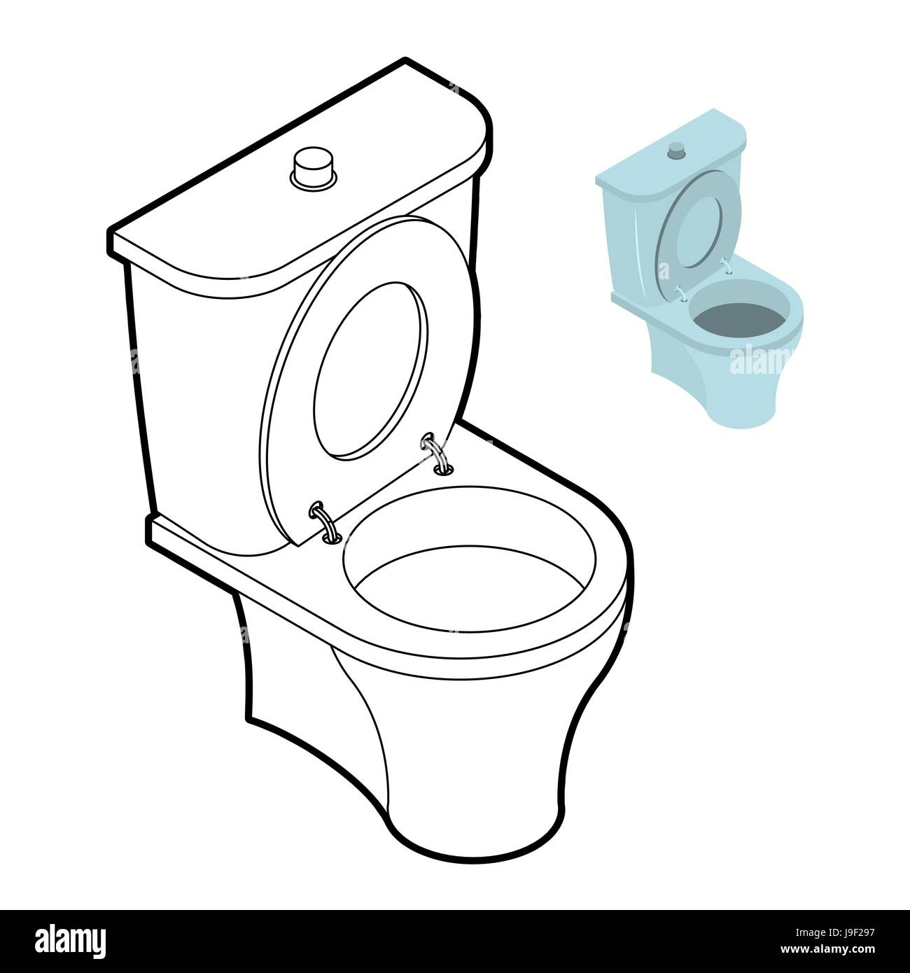 Toilet WC coloring book. Bathroom accessories in linear style Stock ...