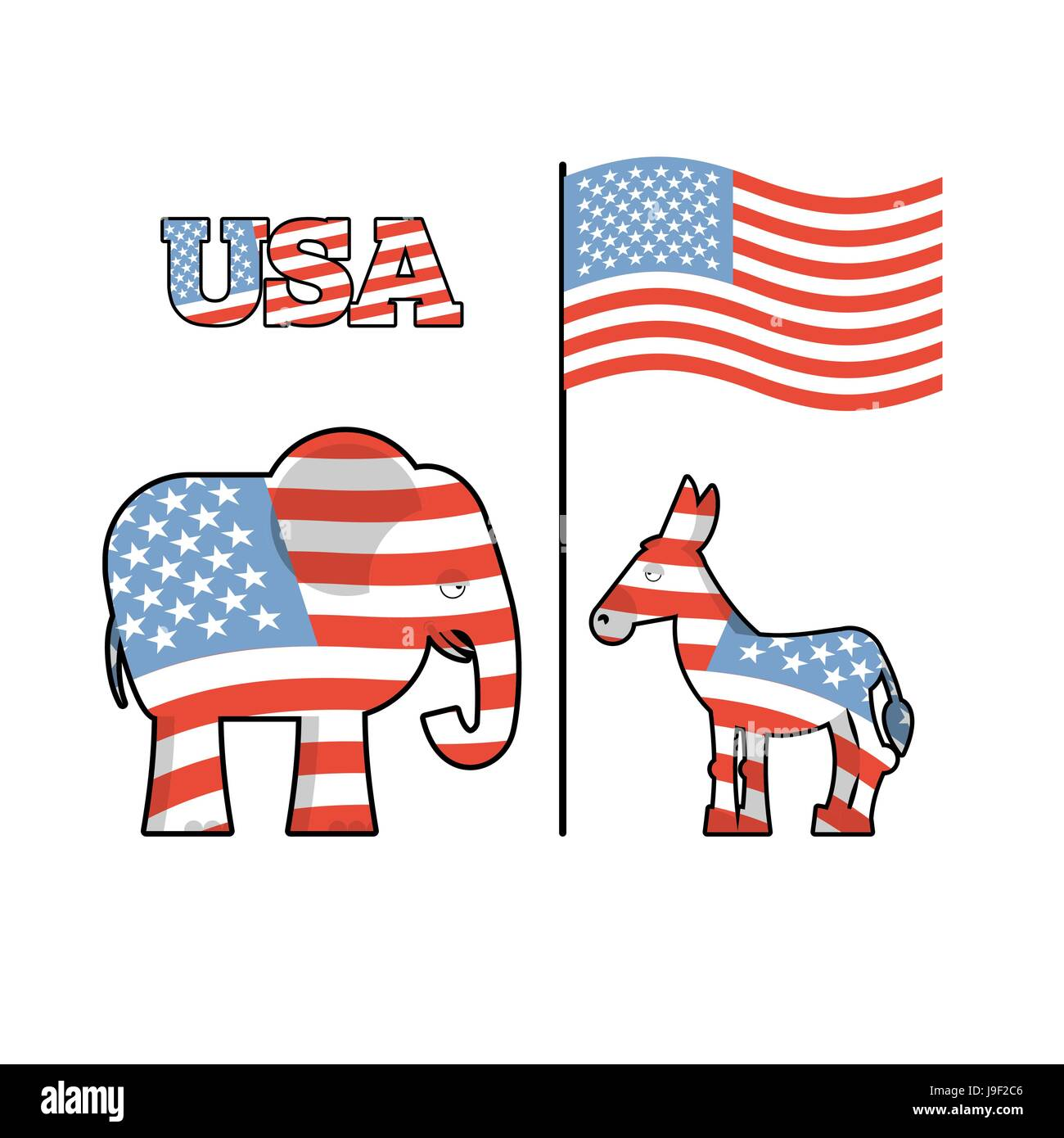 Elephant And Donkey Symbols Of Democrats And Republicans Political