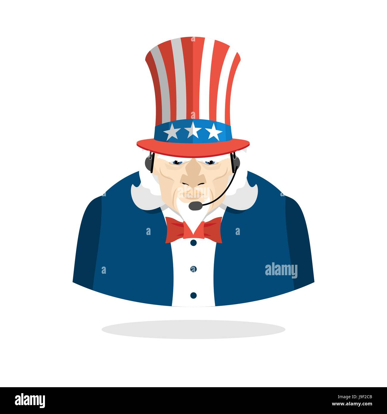 Uncle Sam Call Center Uncle Sam And Headset Symbol Of America