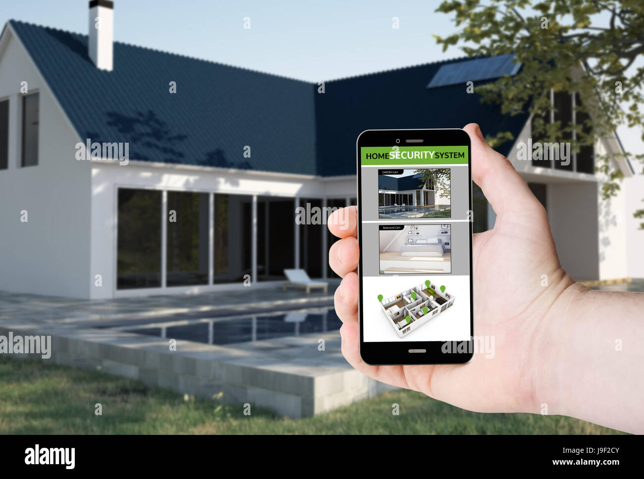 Hand hold a phone with security camera control app on a