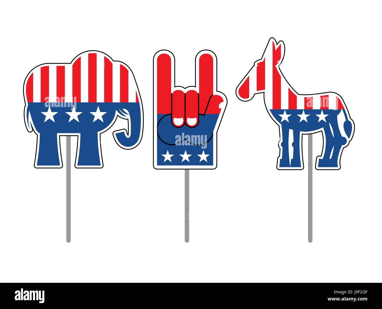 Elephant And Donkey Symbols Of Democrats And Republicans Political