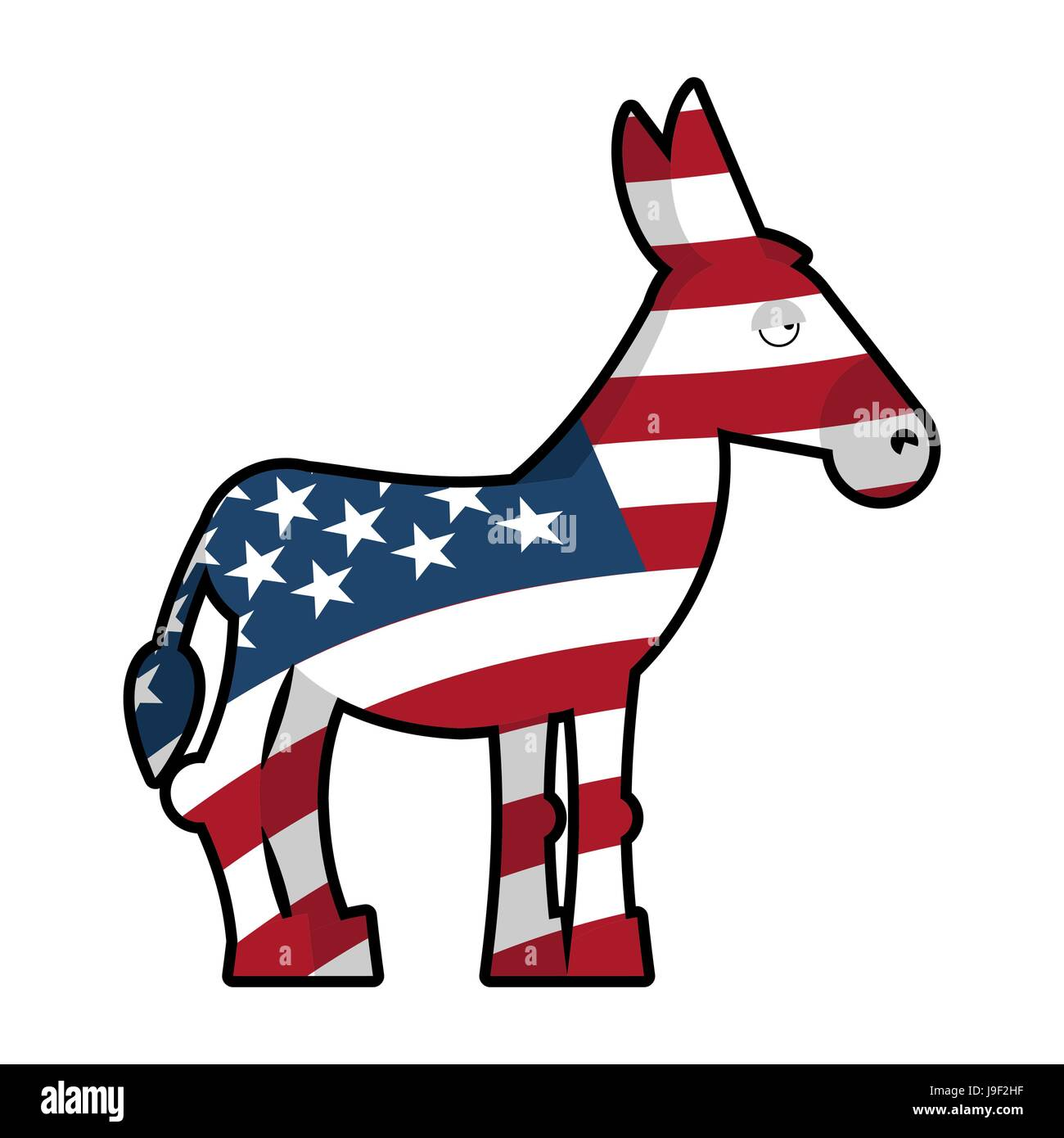Donkey Democrat Symbol Of Political Party In America Usa Flag