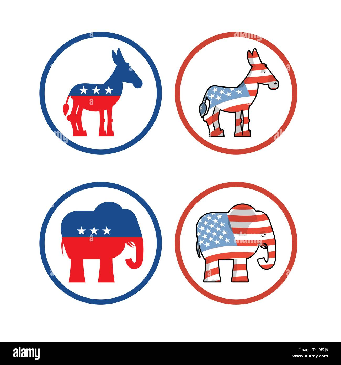 Democratic Donkey And Republican Elephant Symbols Of Political Stock
