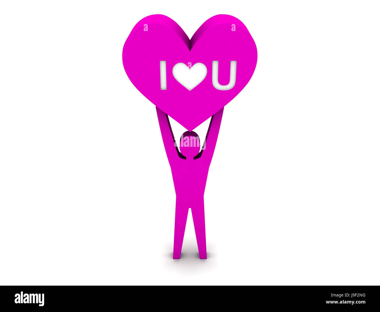 Man holding a heart with the words I love you. Concept 3D illustration. - Stock Image