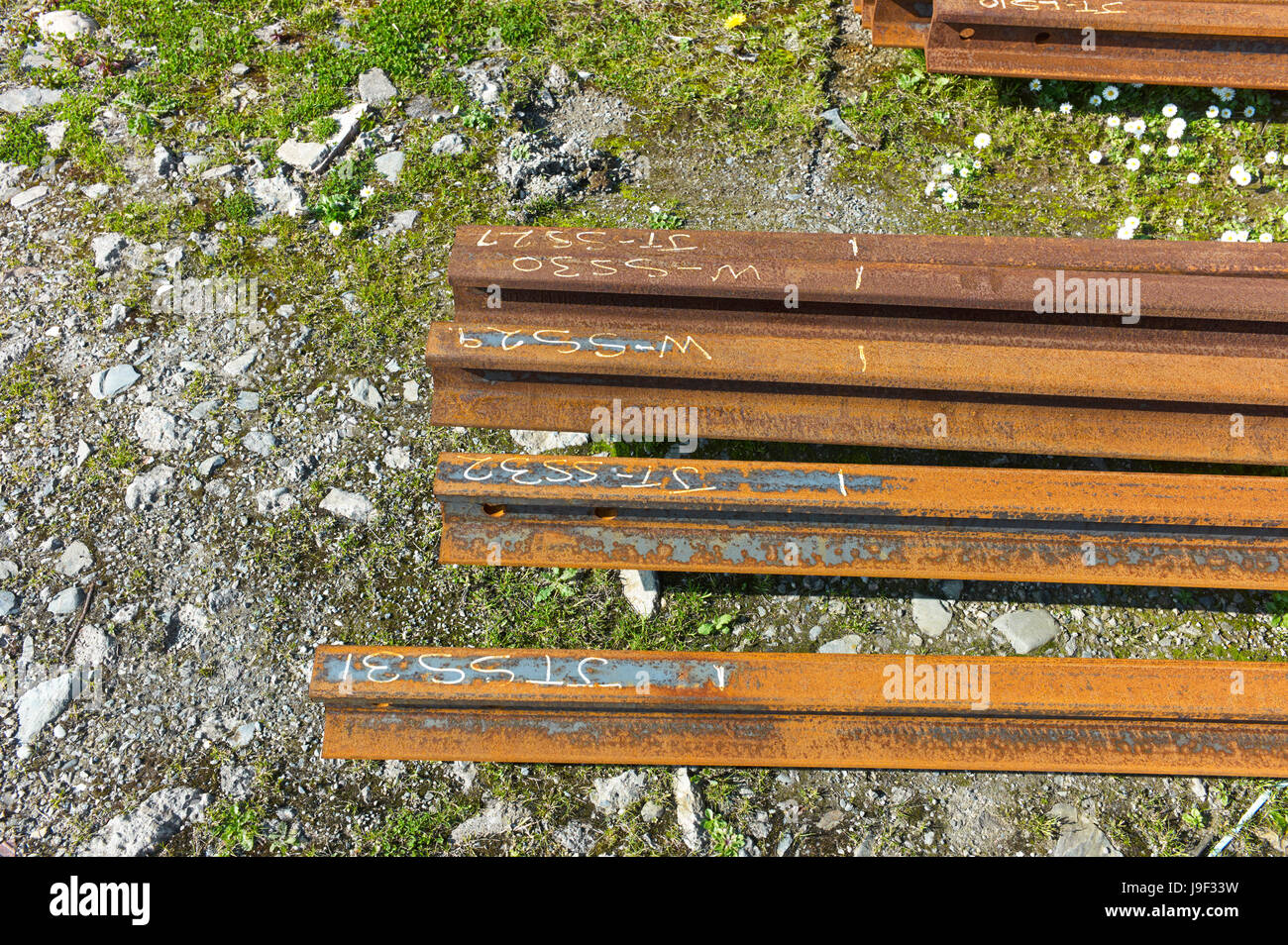Metal railway lines for electric trains in Douglas, Isle of Man Stock Photo