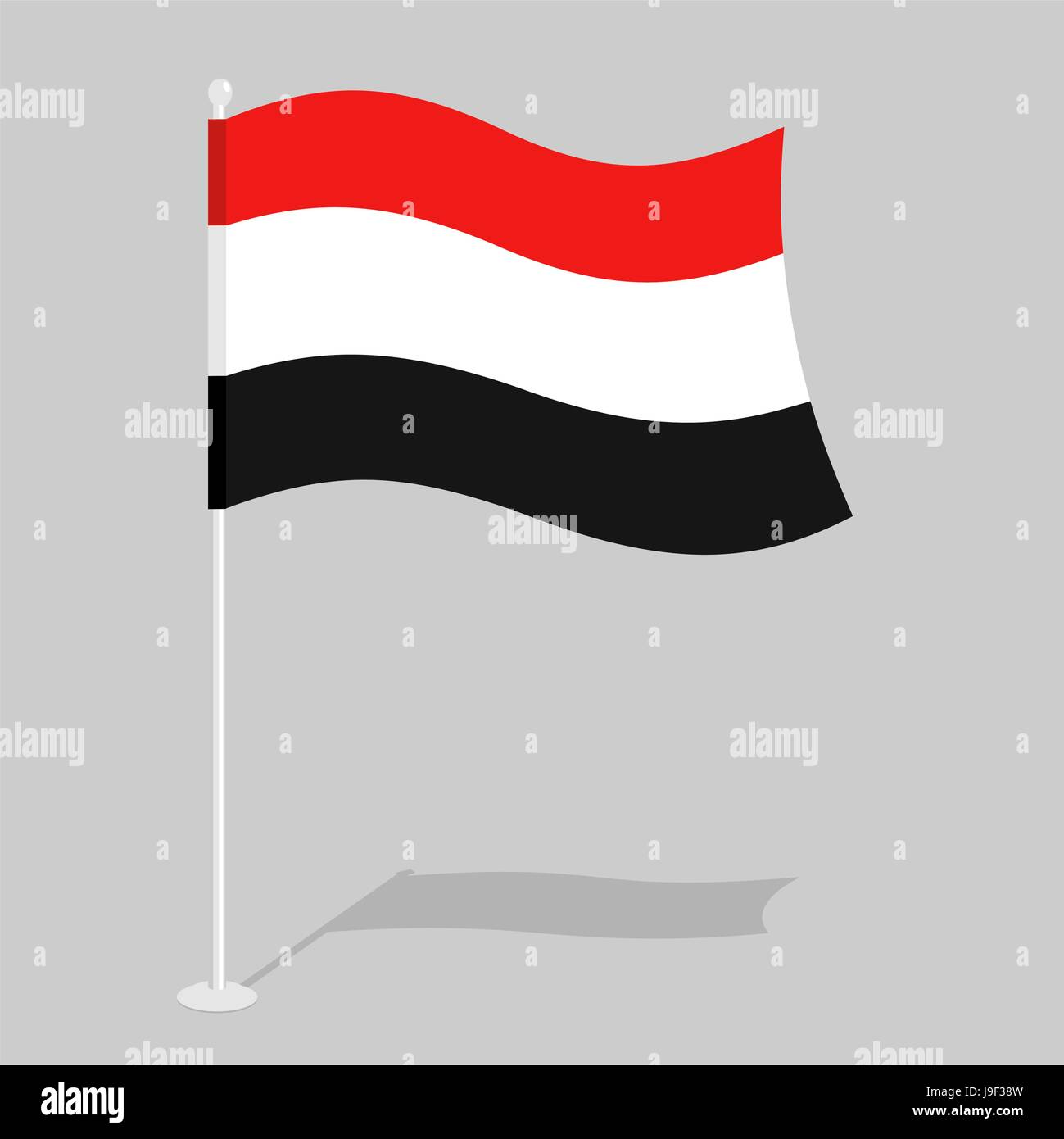 Yemen Flag. Official national mark of Republic of Yemen. Traditional Yemeni flag paced. state in Southwest Asia - Stock Vector