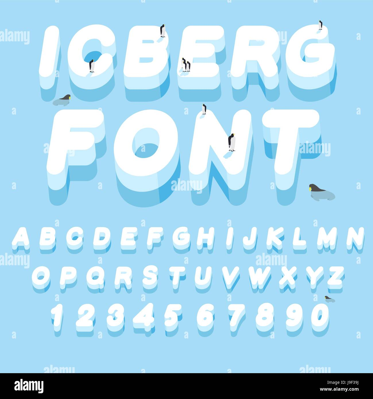 Iceberg Font 3d Letters Of Ice Ice Alphabet Letter Abc Of Snow