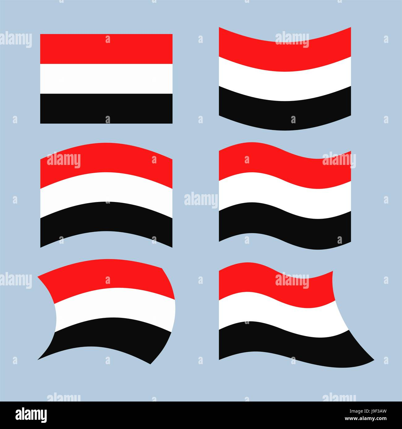 Yemen flag. Set of flags of Republic of Yemen in various forms. Developing Yemeni state flag in South-West Asia - Stock Vector