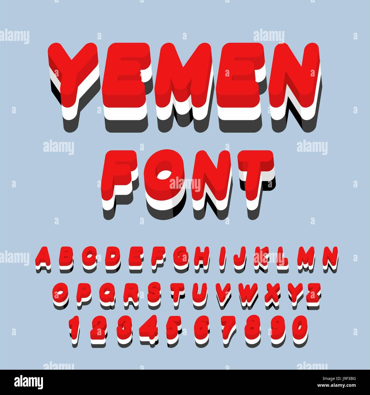 Yemen font. Yemeni flag on letters. National Patriotic alphabet. 3d letter. State color symbolism state in Southwest - Stock Vector