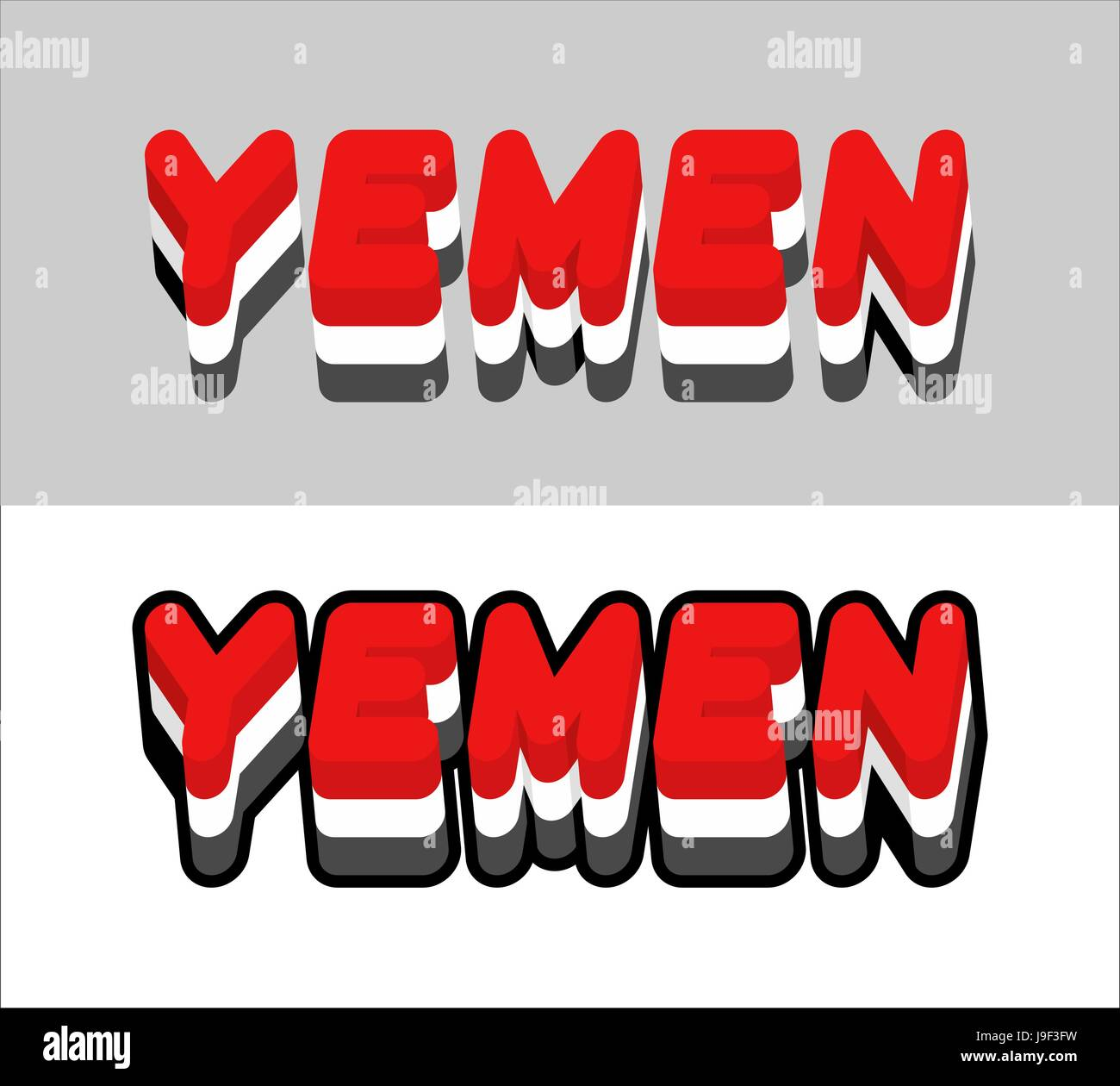 Yemen typography. Text of Yemeni flag. Emblem of the state in Southwest Asia on white background. letters tricolor - Stock Vector