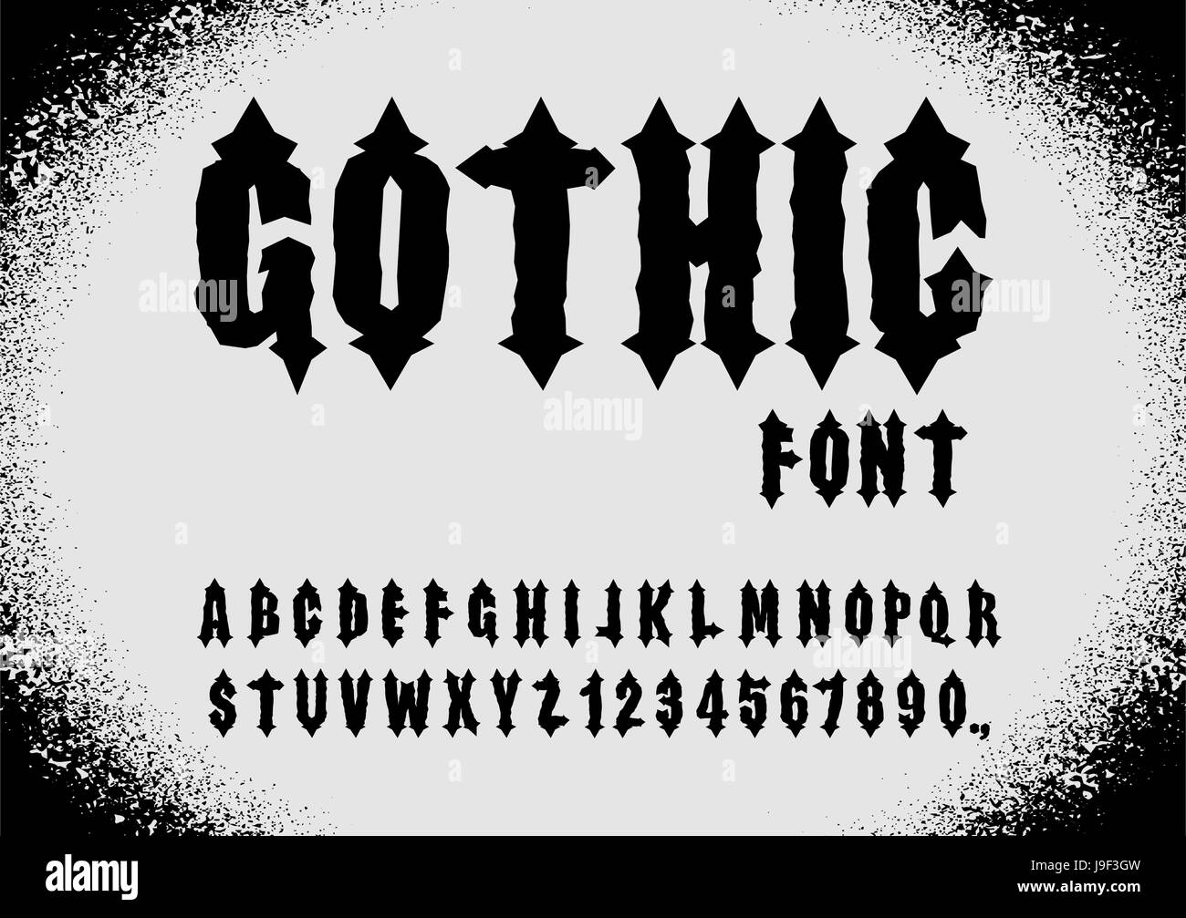 Gothic Font Ancient Letters Vintage Alphabet And Numbers Retro