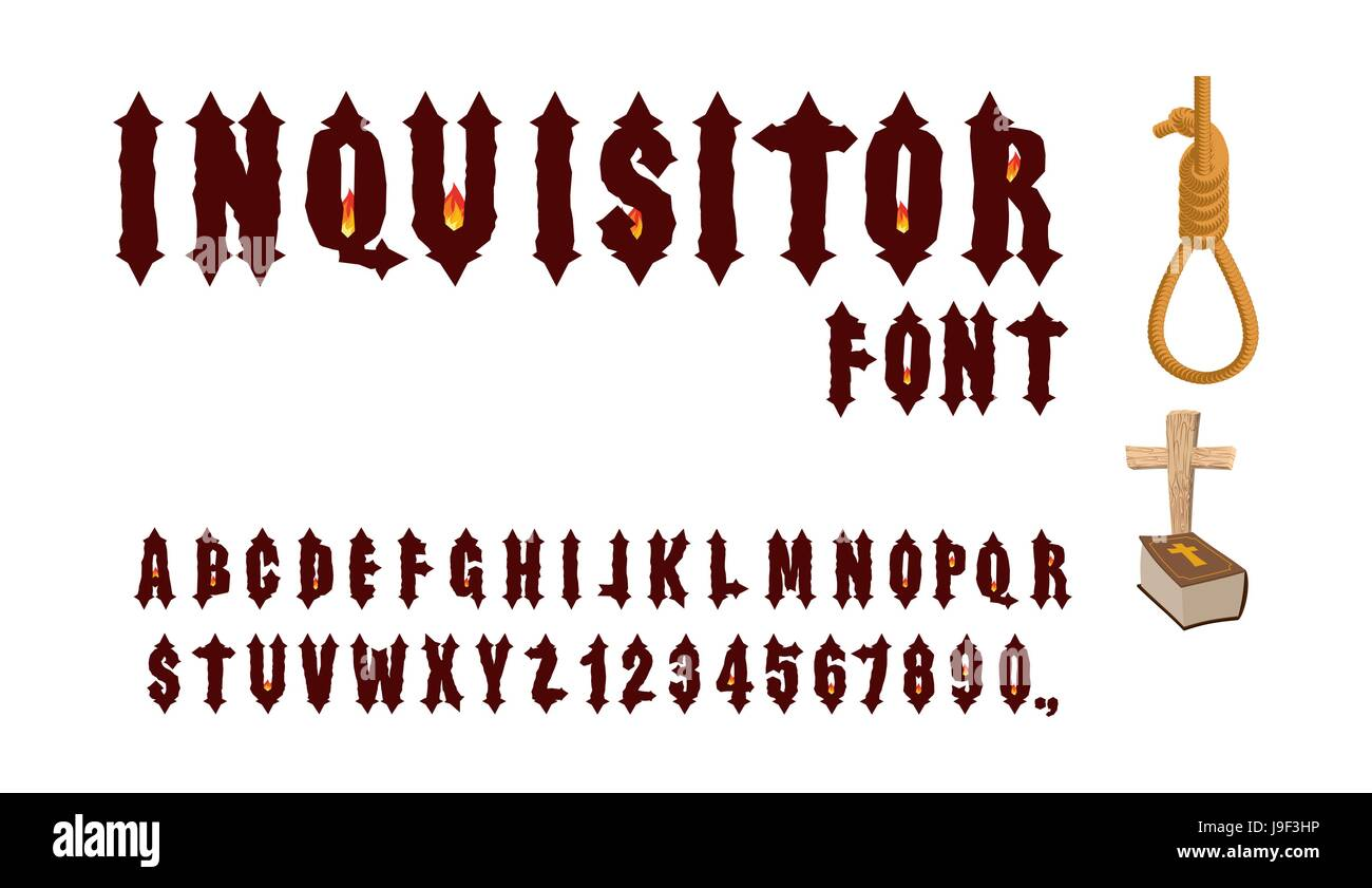 Inquisitor Font Ancient Gothic For Holy Inquisition Medieval Alphabet Letters And Numbers With Fire Of Accessories Ha