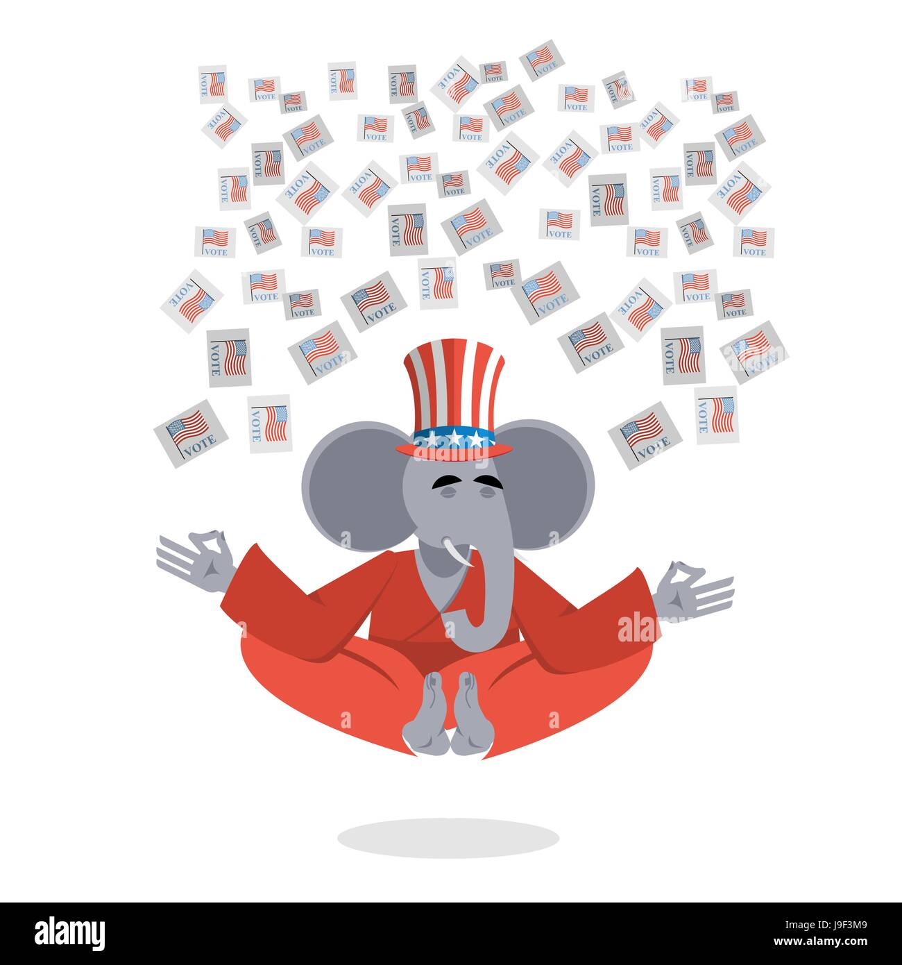 Republican Elephant Hat Uncle Sam Meditating Votes In Elections