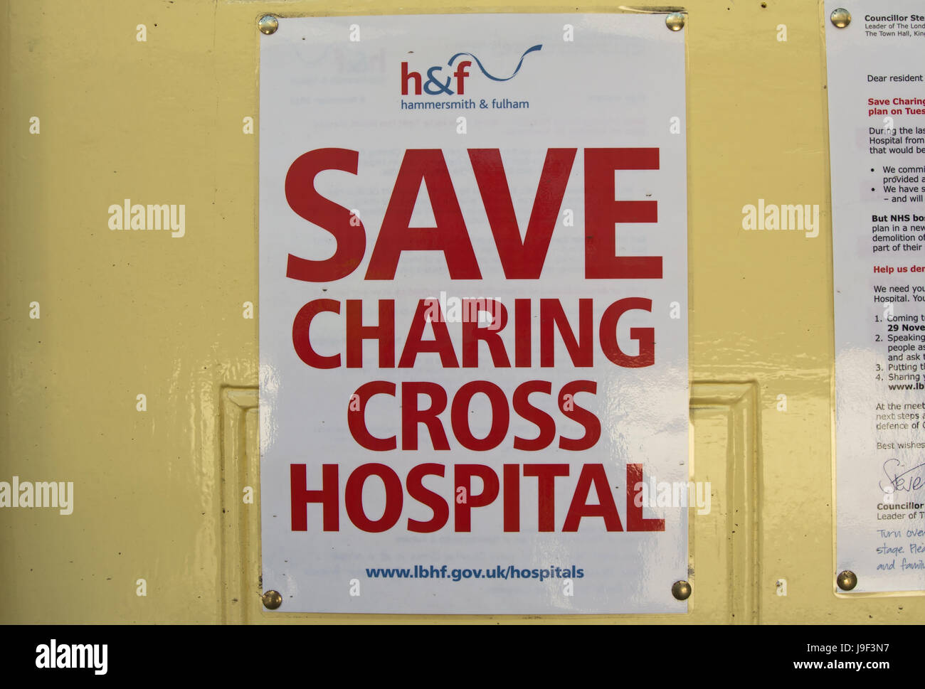 save charing cross hospital poster, issued by the london borough of hammersmith and fulham to oppose the projected - Stock Image