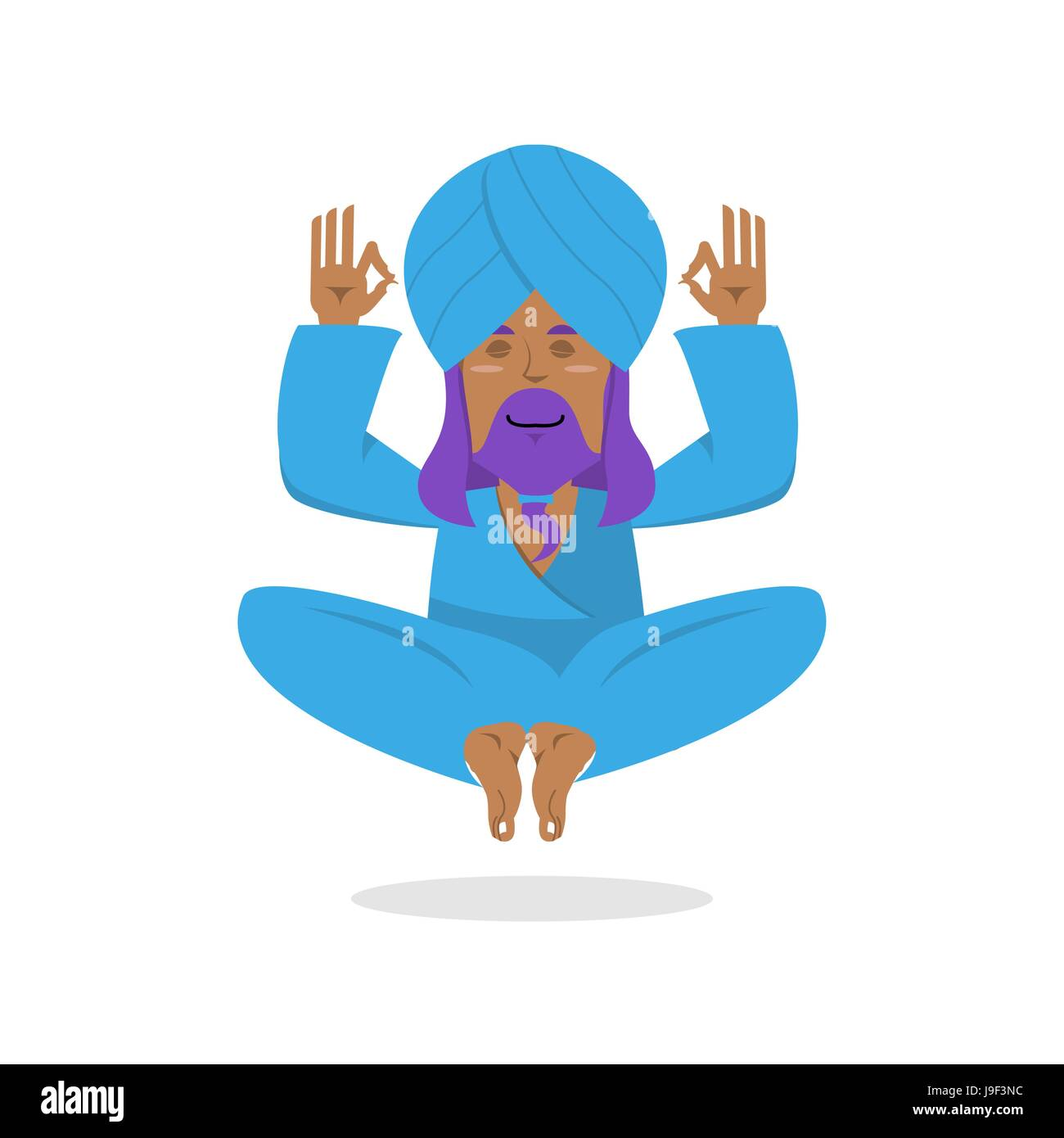Indian yogi meditates. Yogi on white background. Good yogi in turban isolated. Human knowledge and enlightenment. - Stock Vector