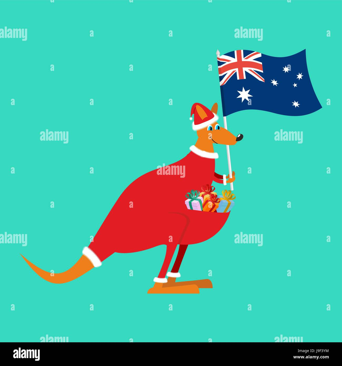 Christmas Kangaroo Cartoon.Santa Australia Australian Kangaroo Claus Wallaby In