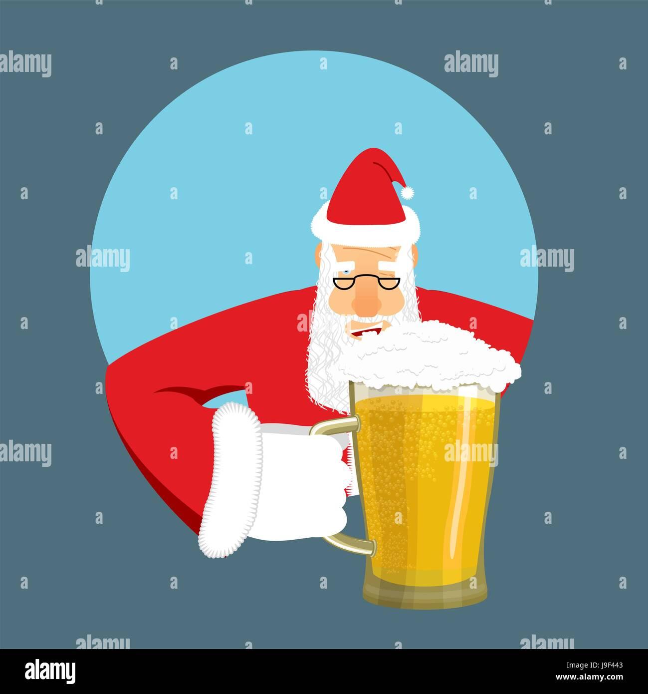 Santa Claus and beer Christmas beer mug