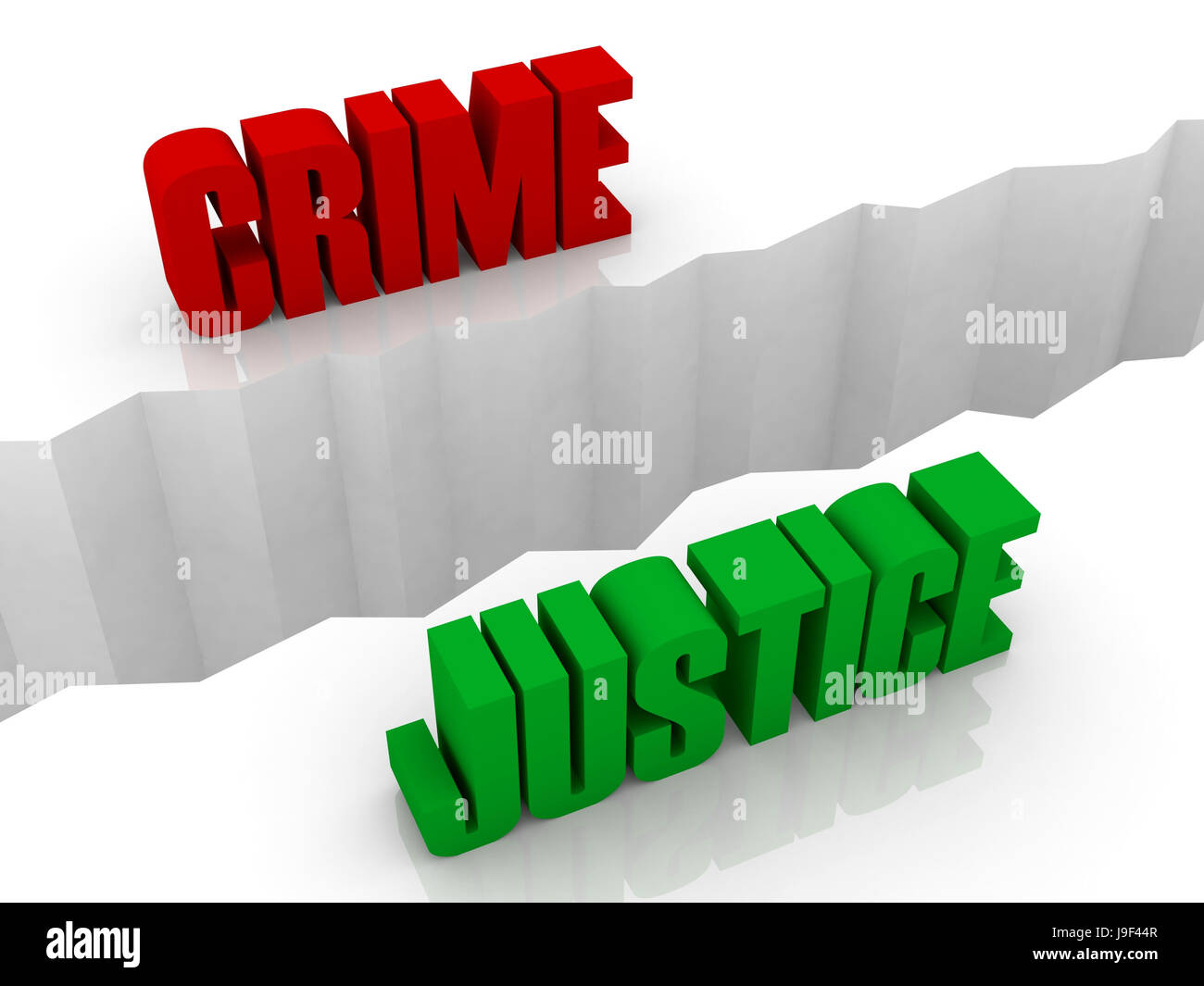 Two words CRIME and JUSTICE split on sides, separation crack. Concept 3D illustration. - Stock Image