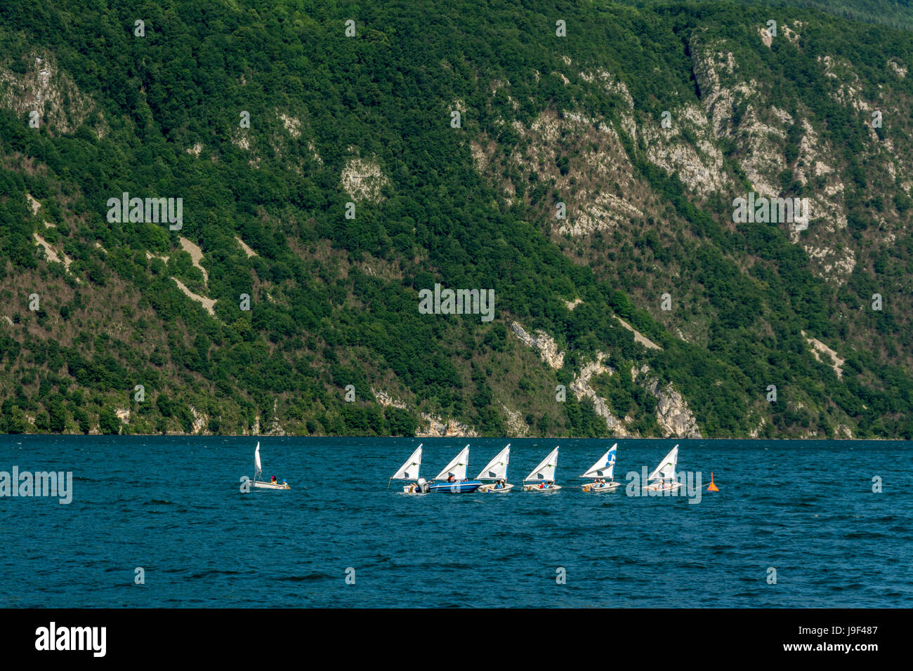 School sail boats on the lake du Bourget. Savoie. France - Stock Image