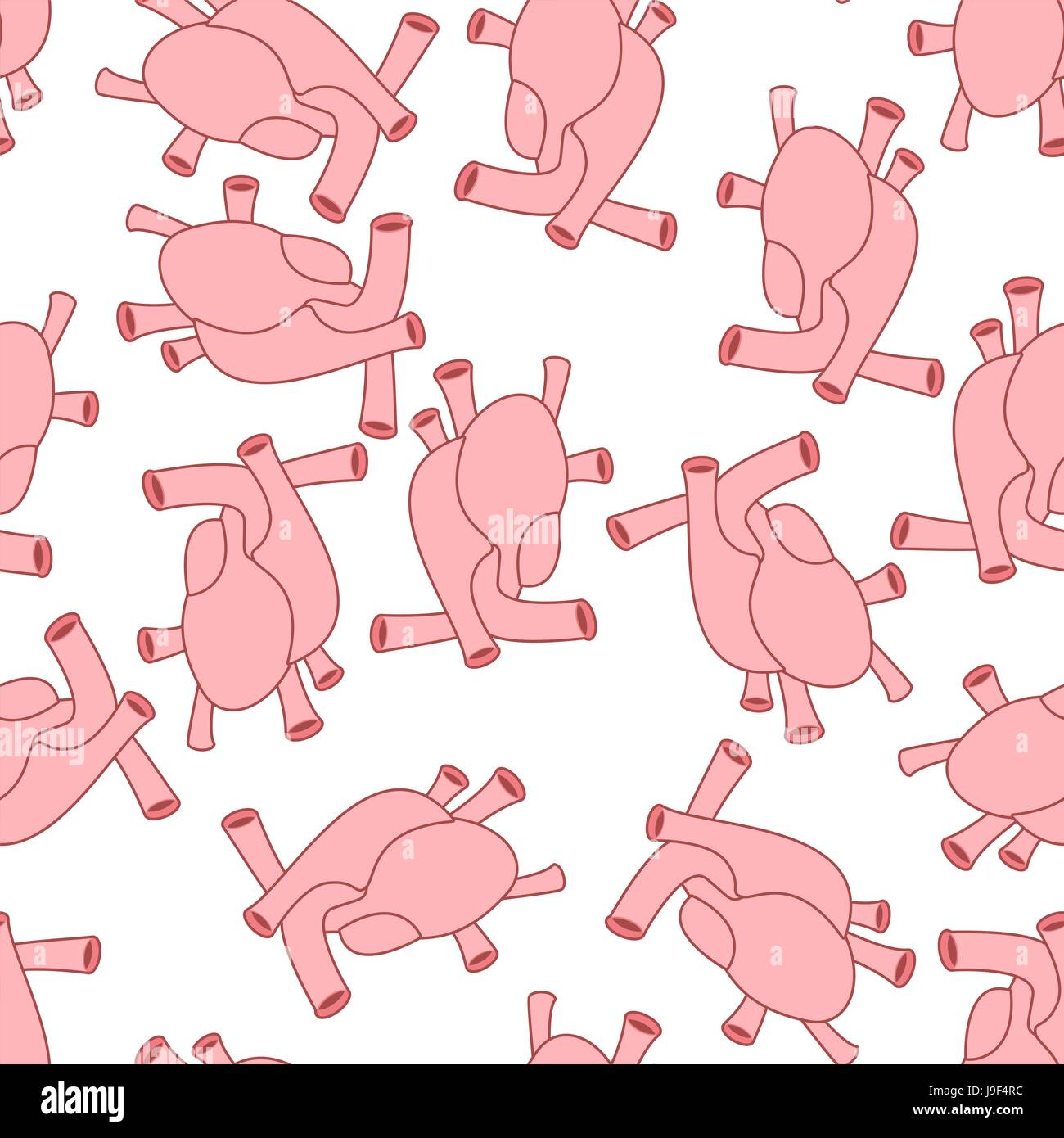 Heart anatomy body seamless pattern. Atrial and ventricular pattern ...