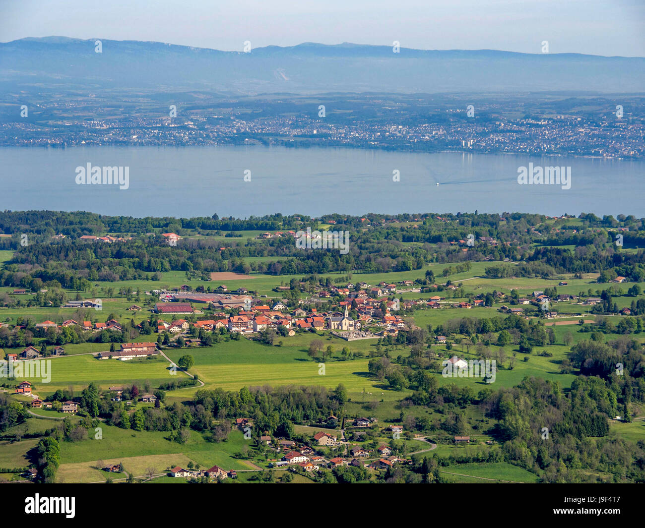 View of the plain of Chablais and the lake of Léman. Haute Savoie. France Stock Photo
