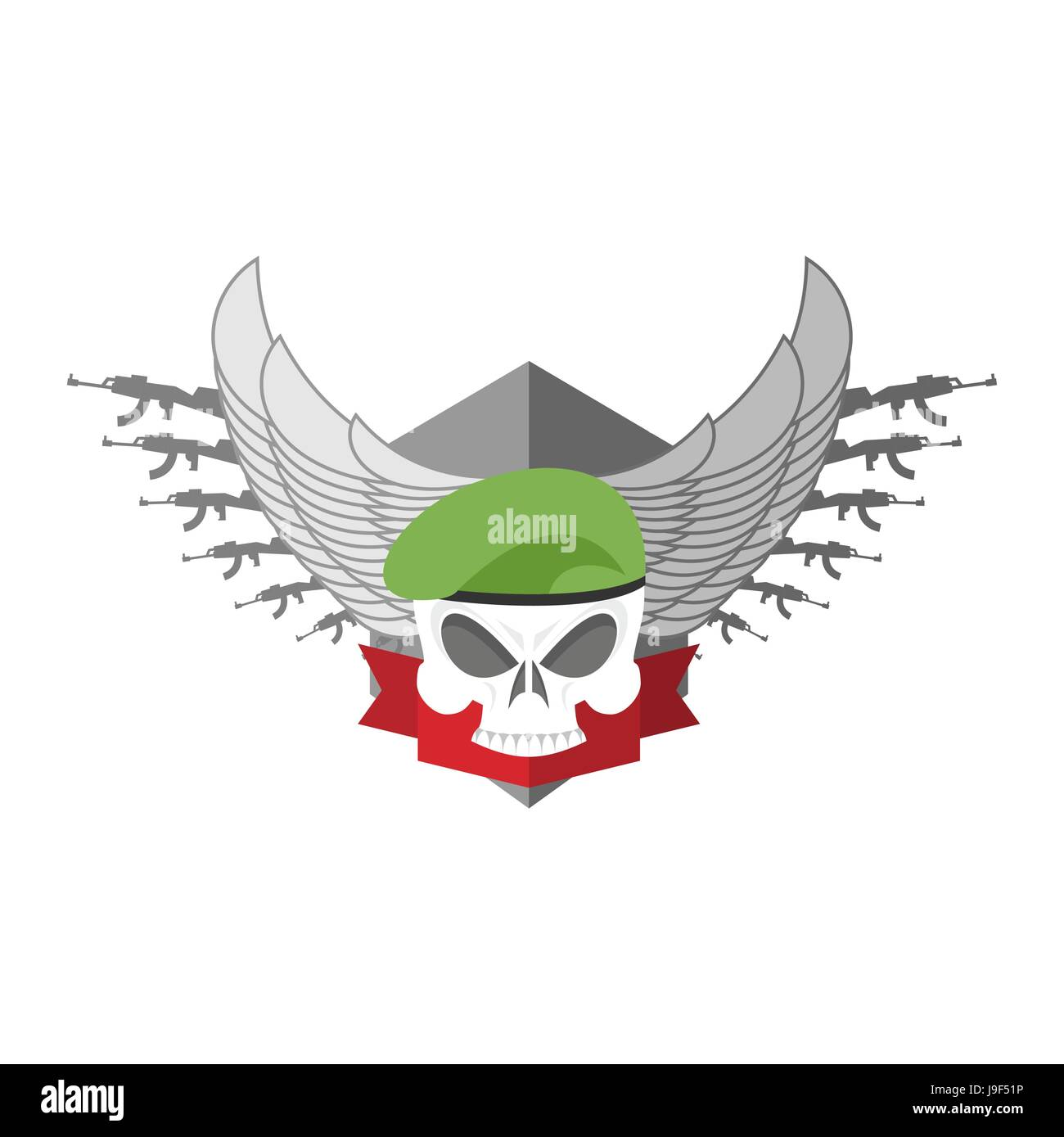Army logo Skull  Soldiers badge  Military emblem  Wings and