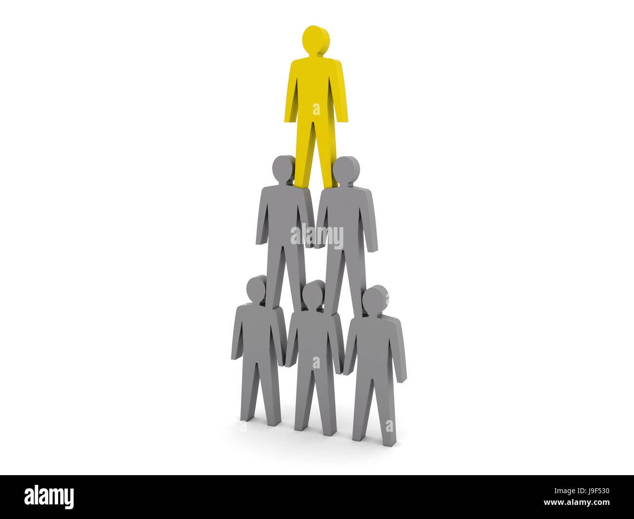 Human pyramid. Team hierarchy. Company boss. Concept 3D illustration - Stock Image