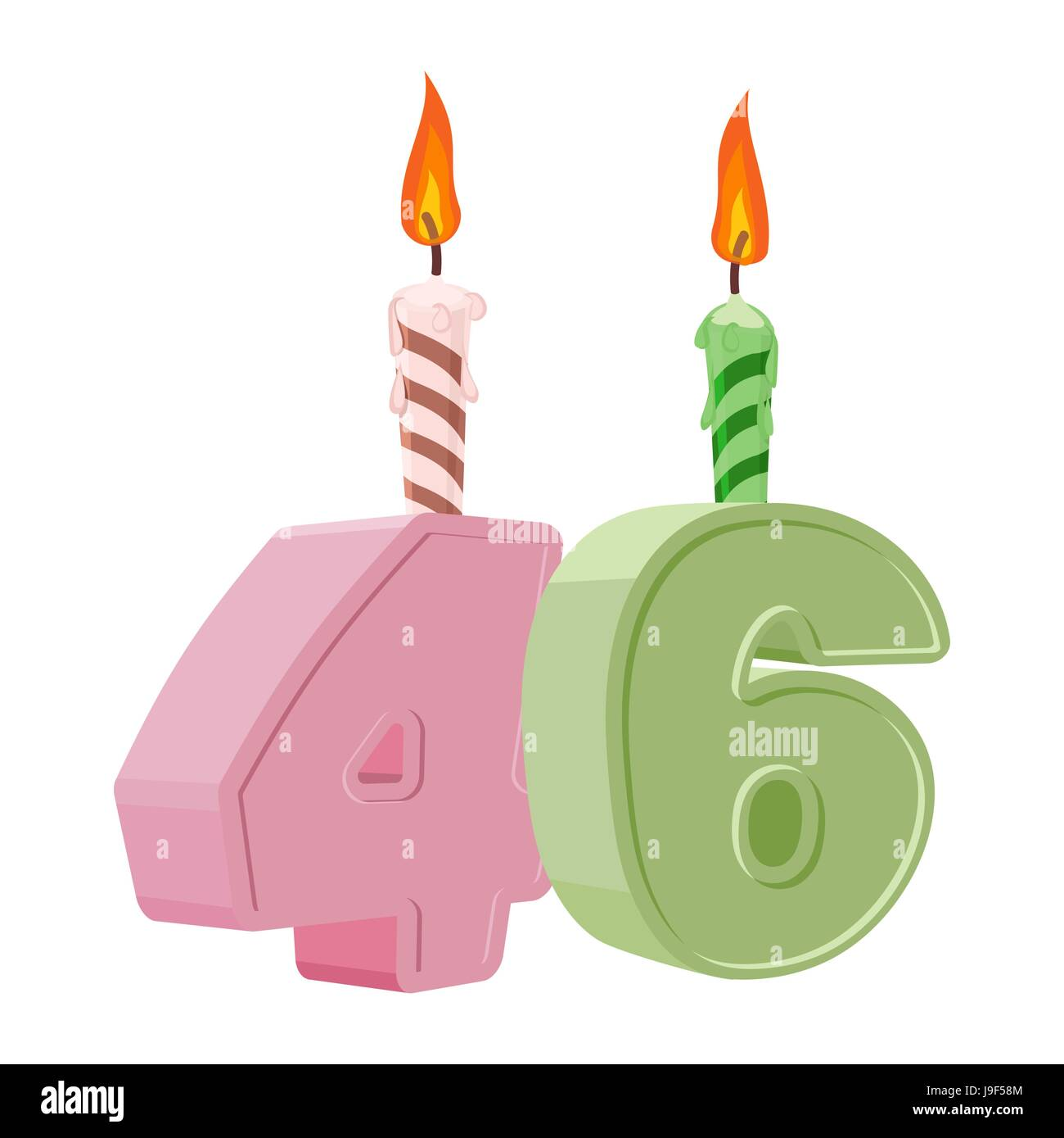 46 Years Birthday. Number With Festive Candle For Holiday